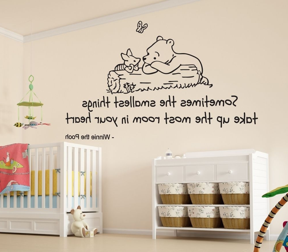 Winnie The Pooh Smallest Things Nursery Wall Art Vinyl Sticker Within Current Winnie The Pooh Wall Art (View 2 of 15)