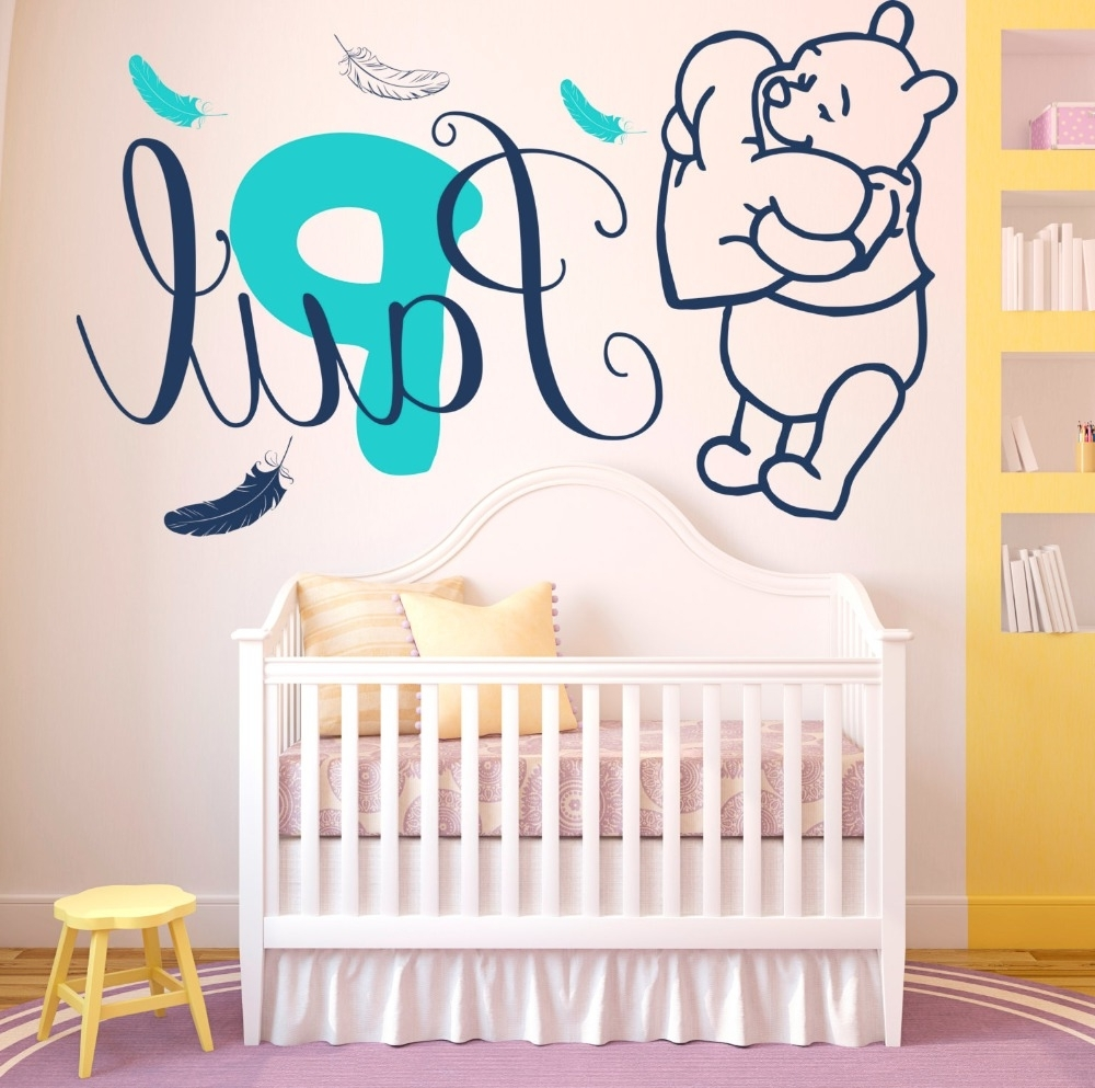 Winnie The Pooh Vinyl Wall Art With Regard To Well Known Wall Decals Baby Winnie The Pooh Feathers Vinyl Sticker Custom (View 14 of 15)