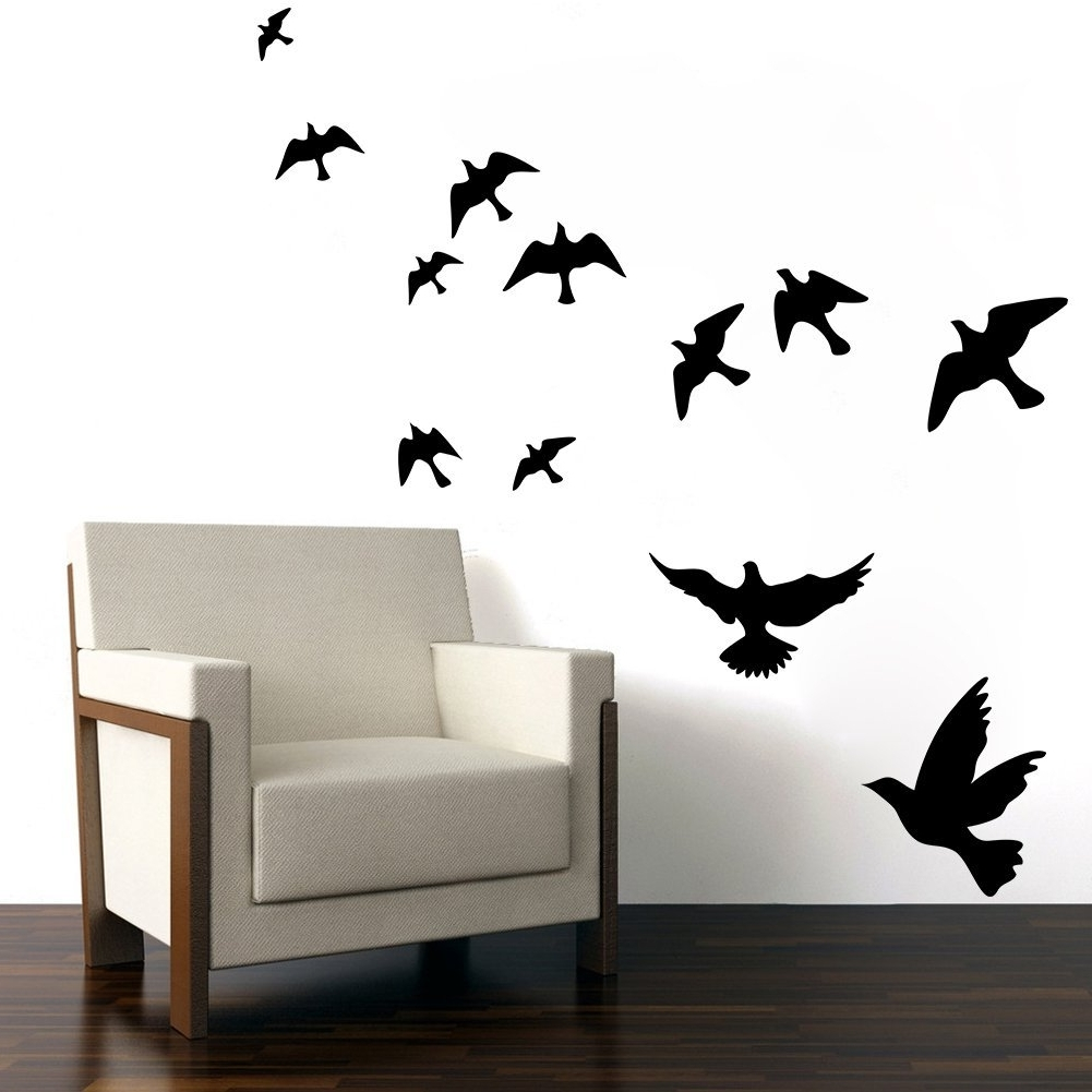 Witkey Flying Black Bird Flying High To Sky 3D Removable Vinyl Within Newest Flock Of Birds Wall Art (View 15 of 15)