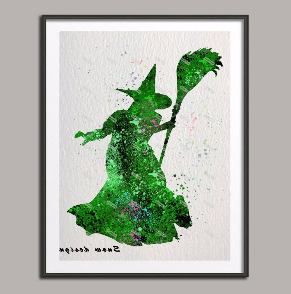 Wizard Of Oz Wall Art With Regard To Most Current Original Watercolor The Wizard Of Oz Wicked Witch Wall Art Poster (Gallery 12 of 15)