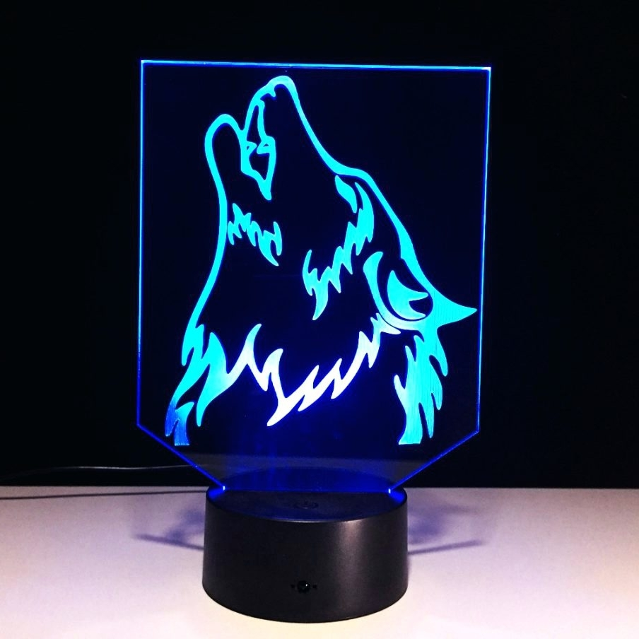 Wolf 3D Wall Art Regarding Newest Wall Arts ~ Wall Art Night Light 3D Wall Art Nightlight Iron Man (View 11 of 15)