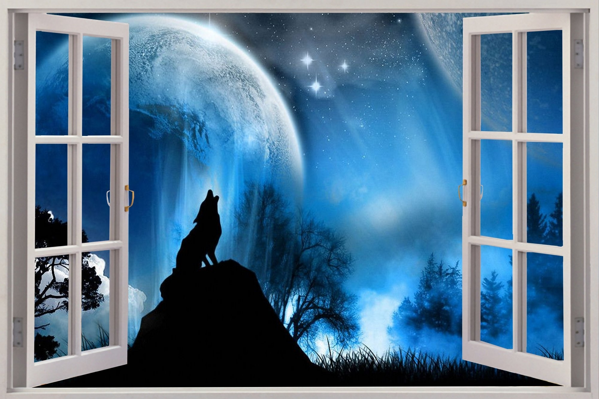 Wolf 3D Wall Art Throughout Preferred Huge 3D Window View Fantasy Lone Wolf Wolves Wall Sticker Mural (View 13 of 15)