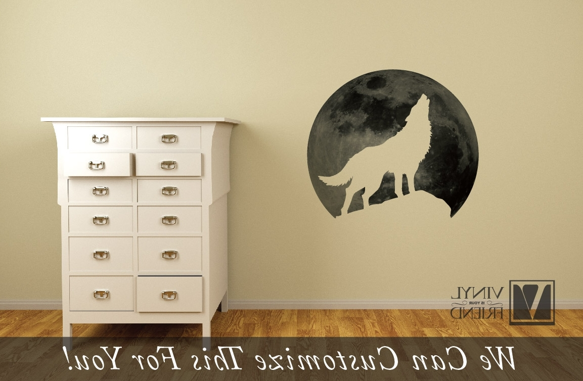 Wolf Howling At The Moon – Wall Decor Vinyl Decal Silhouette In Current Wolf 3D Wall Art (View 14 of 15)