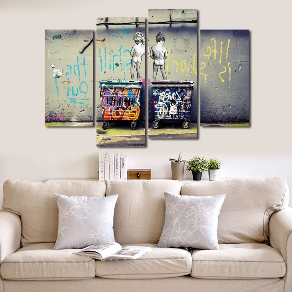 "Wonzom Large Banksy Canvas Prints ""seize The Day"" Modern Wall Art Throughout 2018 Modern Wall Art Uk (View 15 of 15)"
