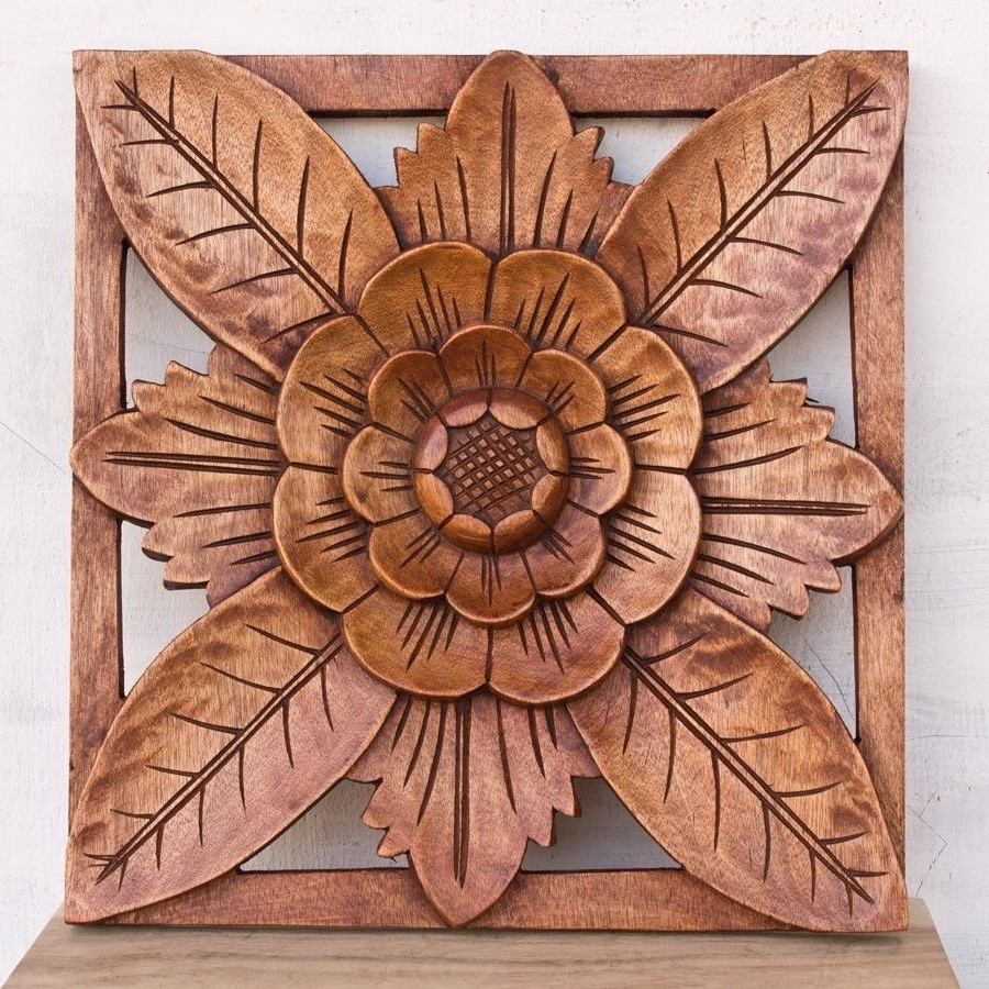 Wood Carved Wall Art Panels In Most Current Balinese Traditional Lotus Refiel Wood Panel Wooden Carving Bali (View 12 of 15)