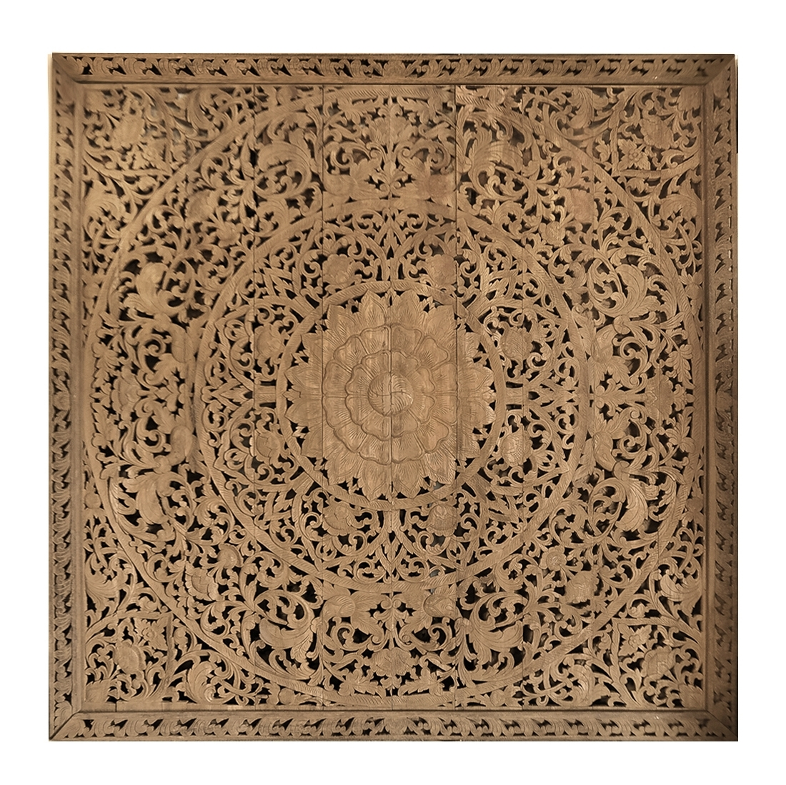 Wood Carved Wall Art Panels Throughout Current Large Grand Carved Wooden Wall Art Or Ceiling Panel – Siam Sawadee (View 14 of 15)