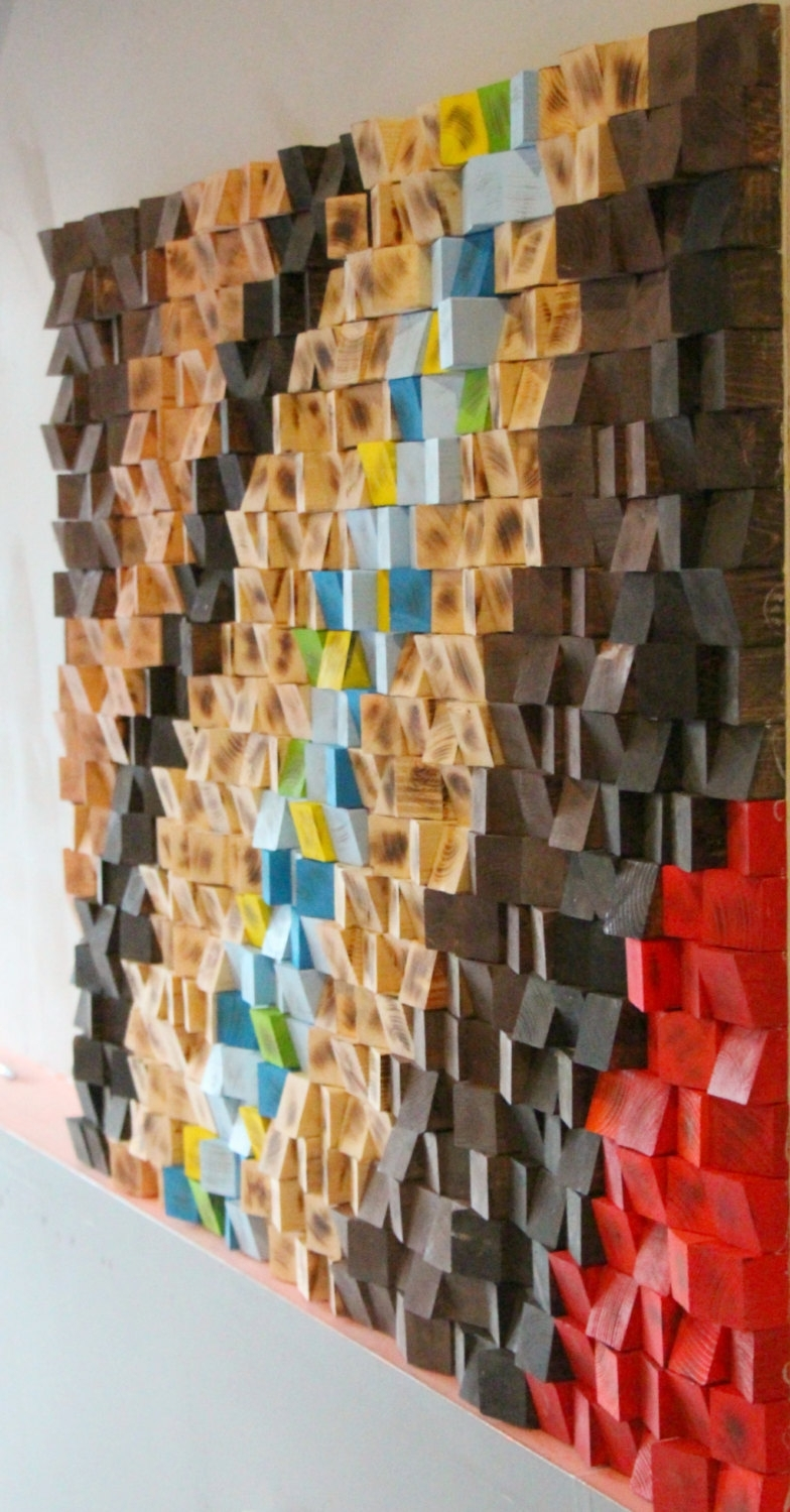 Wood Mosaic, Woodburning Reclaimed Wood Wall Art, Geometric Art Pertaining To Newest Sculpture Abstract Wall Art (View 15 of 15)