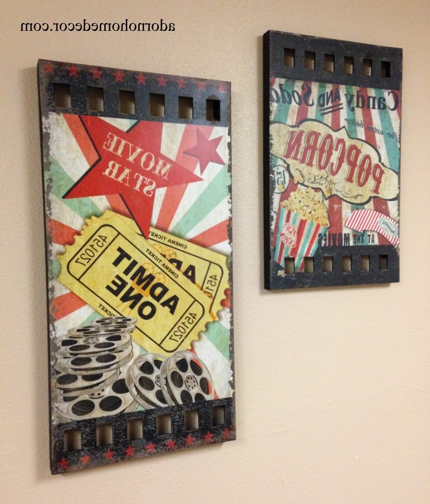 Wood Movie Wall Plaque Decor Popcorn Theater Ticket Hollywood Within Preferred Movie Themed Wall Art (View 6 of 15)