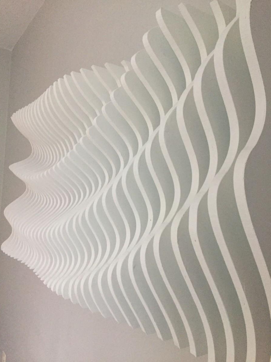 Wood Wall Art, Modern Art, Parametric Wave, 3d Art, Wall Sculpture For 2017 White 3d Wall Art (View 3 of 15)