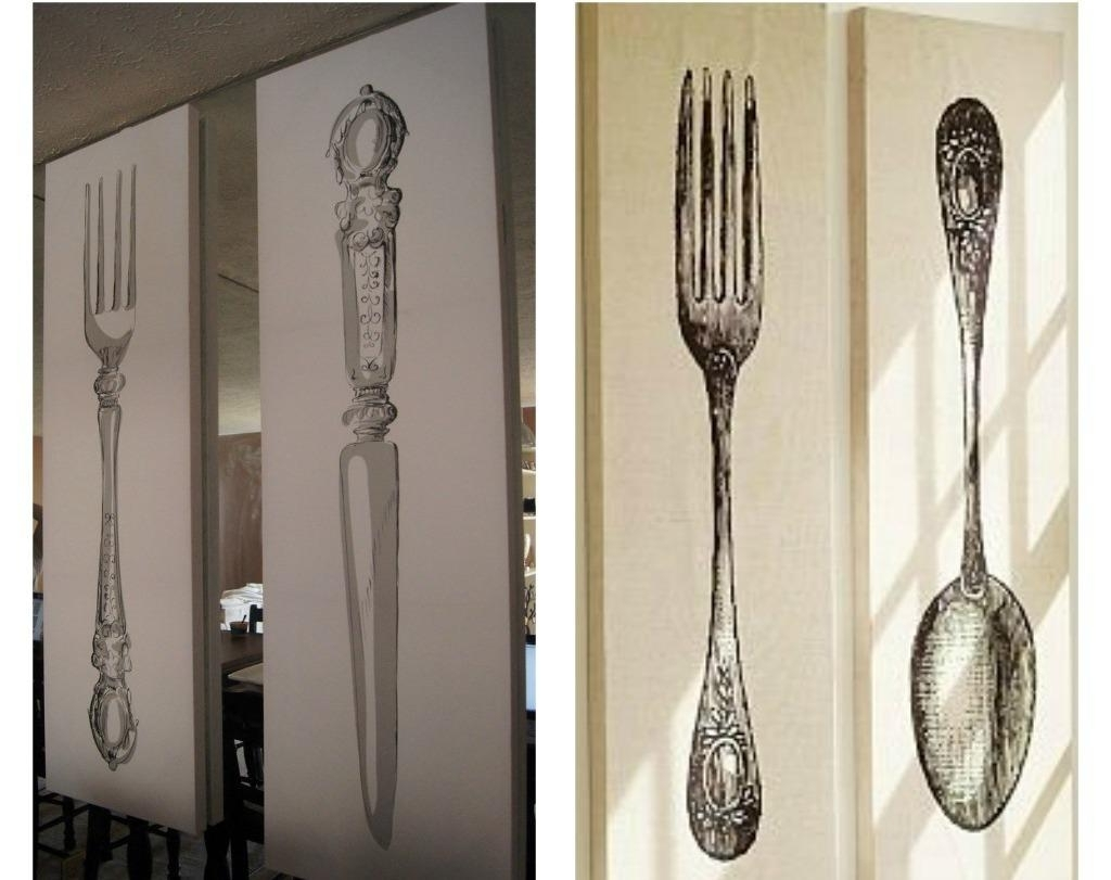 Wooden Fork And Spoon Wall Art With Popular Silver Fork Spoon Wall Decor U2022 Walls  Decor