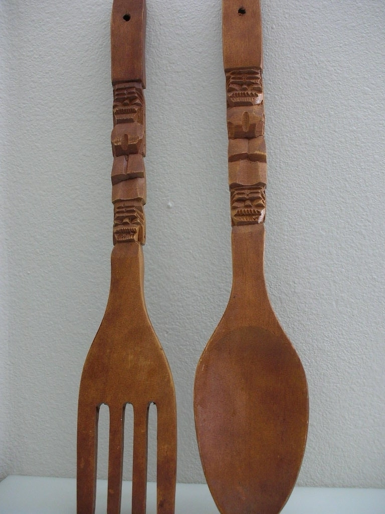 Wooden Fork And Spoon Wall Decor Large • Walls Decor Within Widely Used Wooden Fork And Spoon Wall Art (View 8 of 15)
