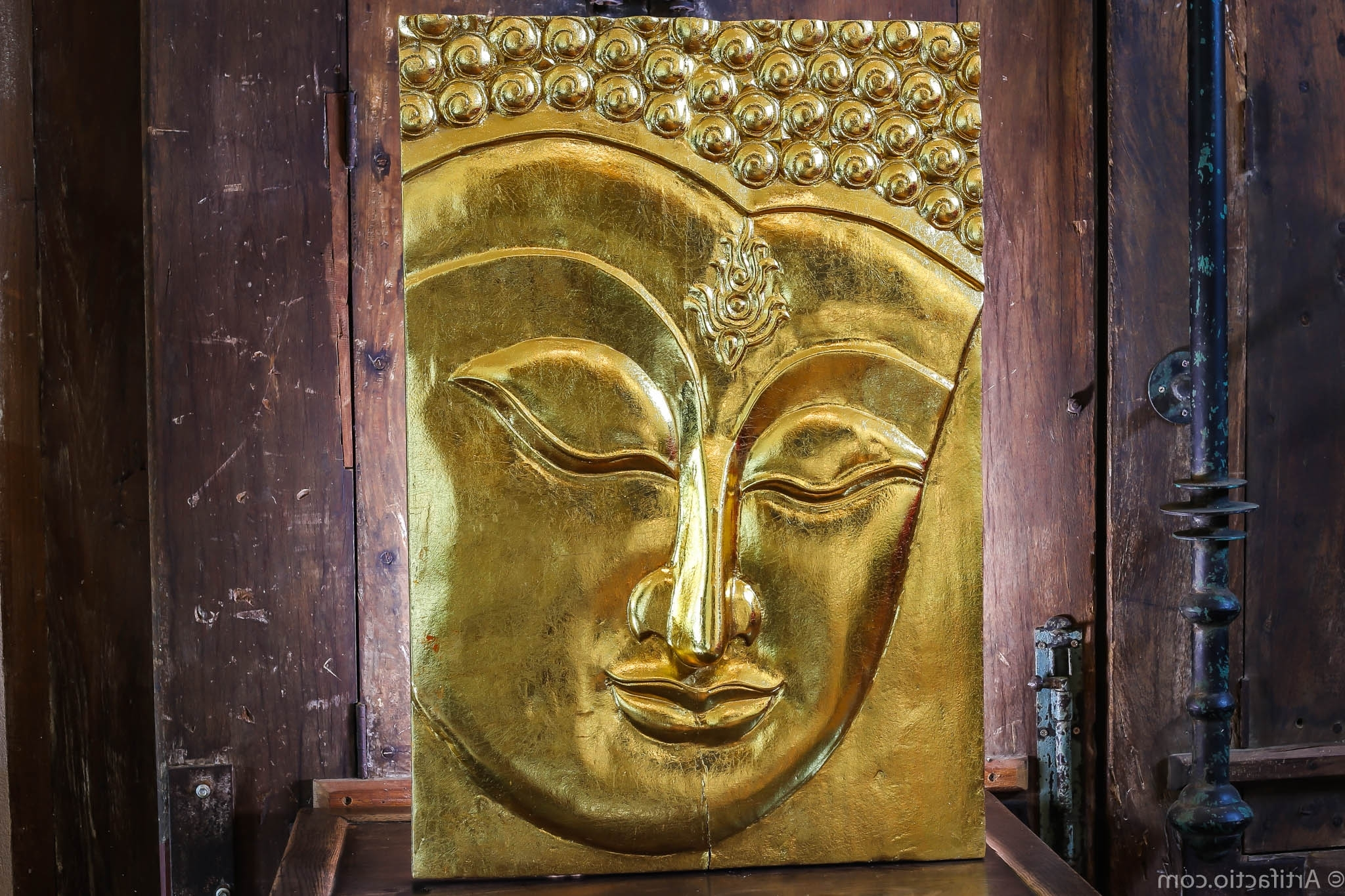 Wooden Gold Buddha Hand Carved Wall Panel • Artifactio With Popular Buddha Wooden Wall Art (View 15 of 15)