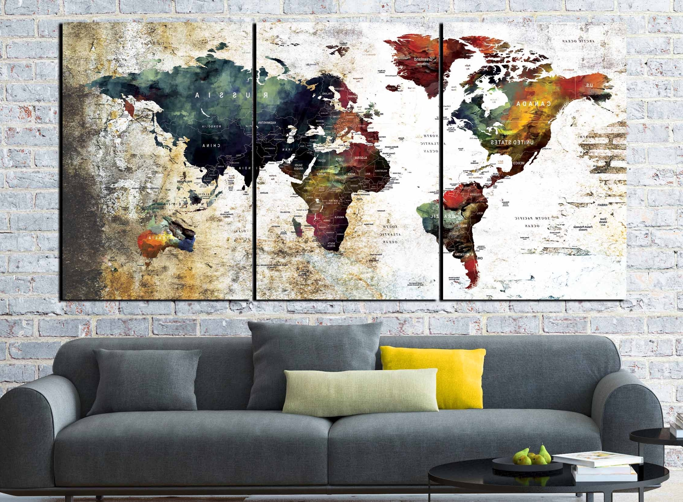 World Map Abstract,world Map Wall Art,world Map Art,world Map For Most Current Abstract World Map Wall Art (View 14 of 15)