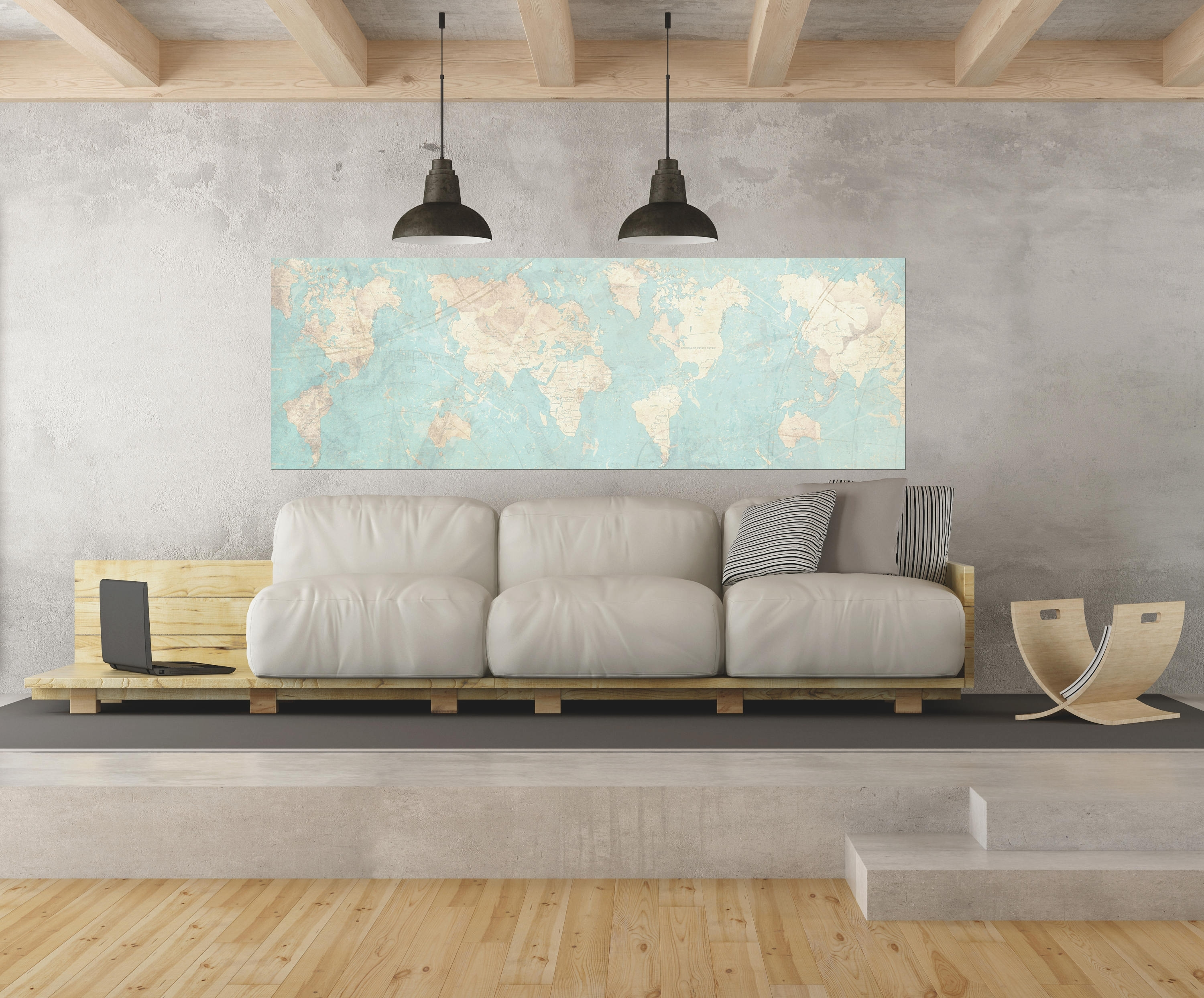 World Map Canvas Print Vintage Map World Map Horizontal Extra Within Newest Large Horizontal Wall Art (View 15 of 15)