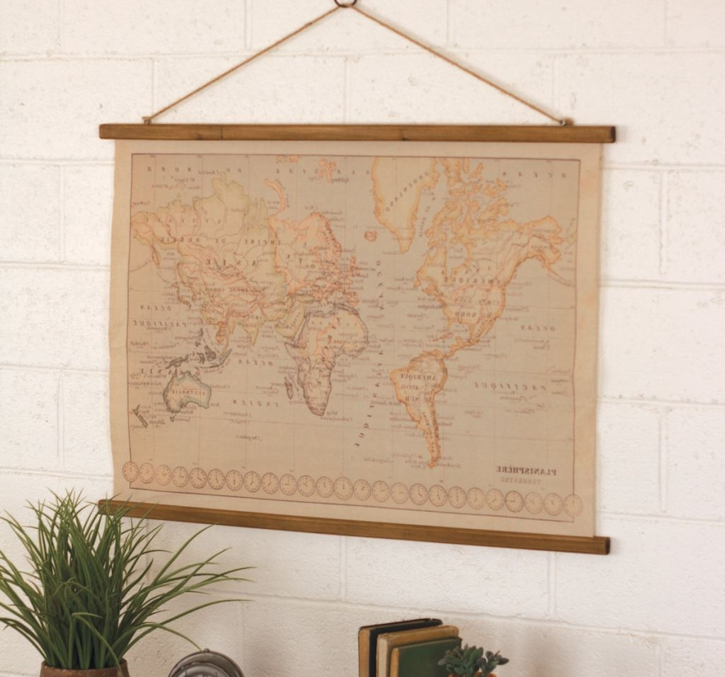 World Map Canvas Vintage Style – Trendy Essential Decor (View 15 of 15)