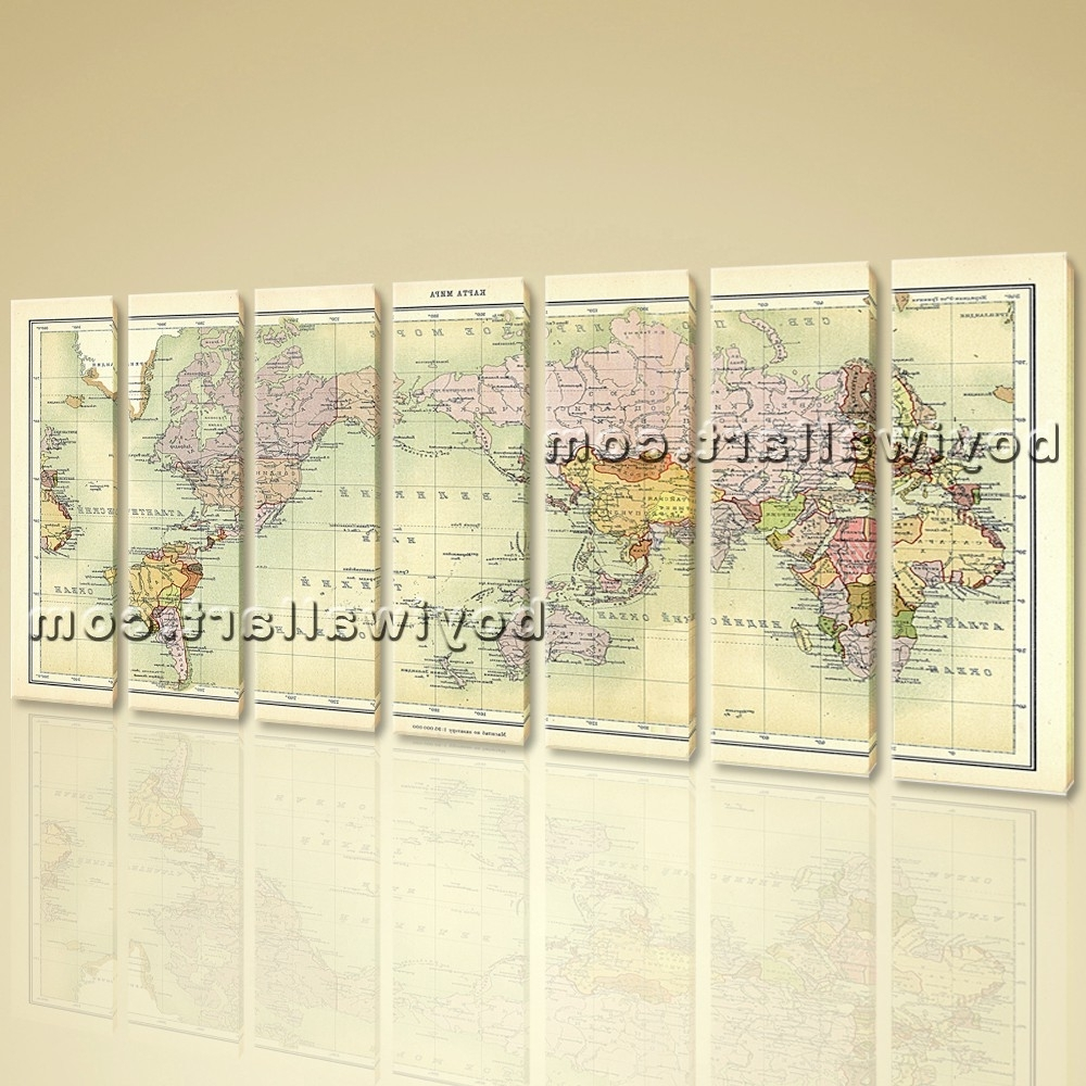 World Map Global Atlas Hd Print On Canvas Modern Wall Art Home Decor Regarding 2018 Atlas Wall Art (View 14 of 15)
