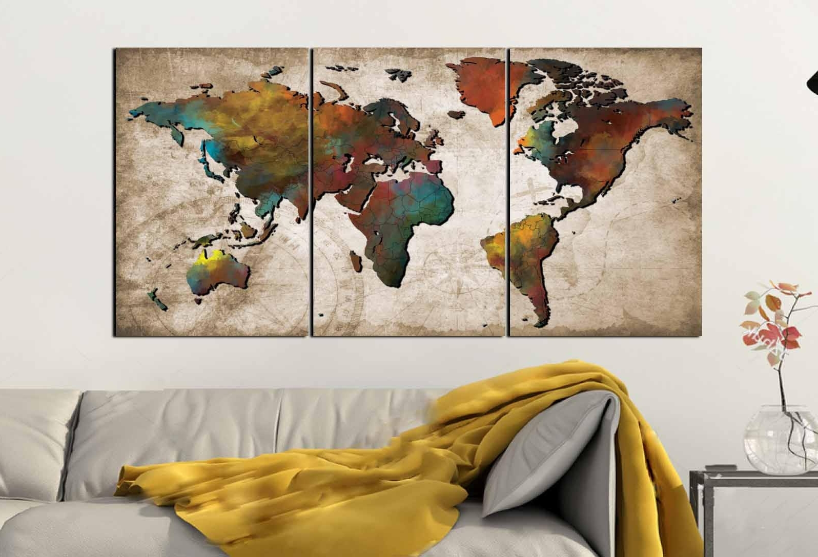 World Map Wall Art,abstract Push Pin Map,colorful World Map,world With Regard To Well Known Abstract World Map Wall Art (View 3 of 15)