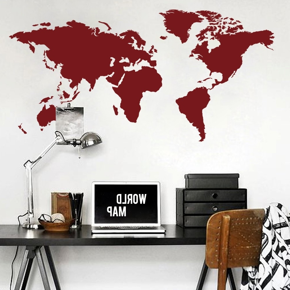 World Map Wall Decal The Whole World Atlas Vinyl Wall Art Sticker Inside Favorite Atlas Wall Art (View 15 of 15)