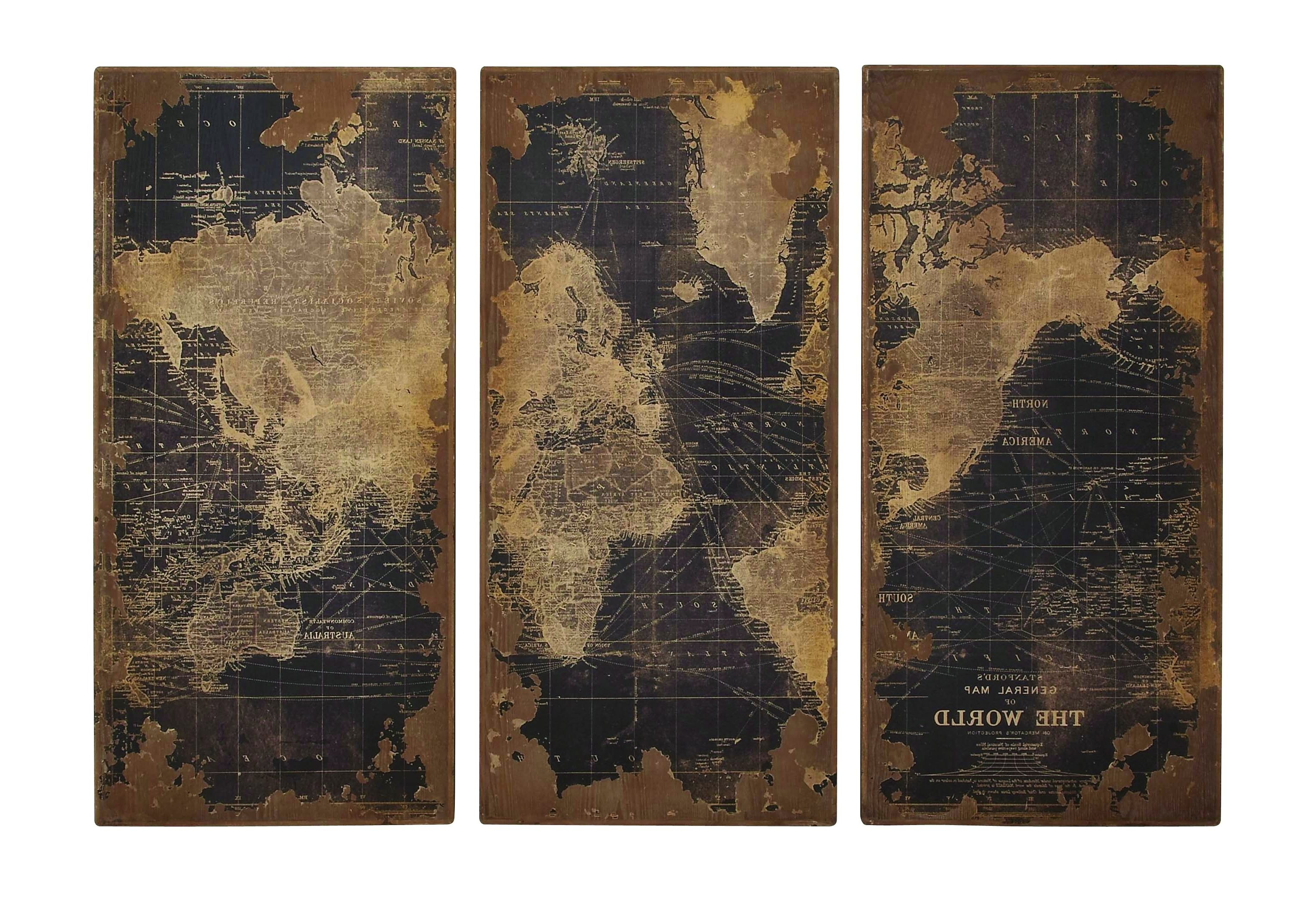 World Map Wood Wall Panels Inside Most Recently Released Old World Map Wall Art (View 11 of 15)