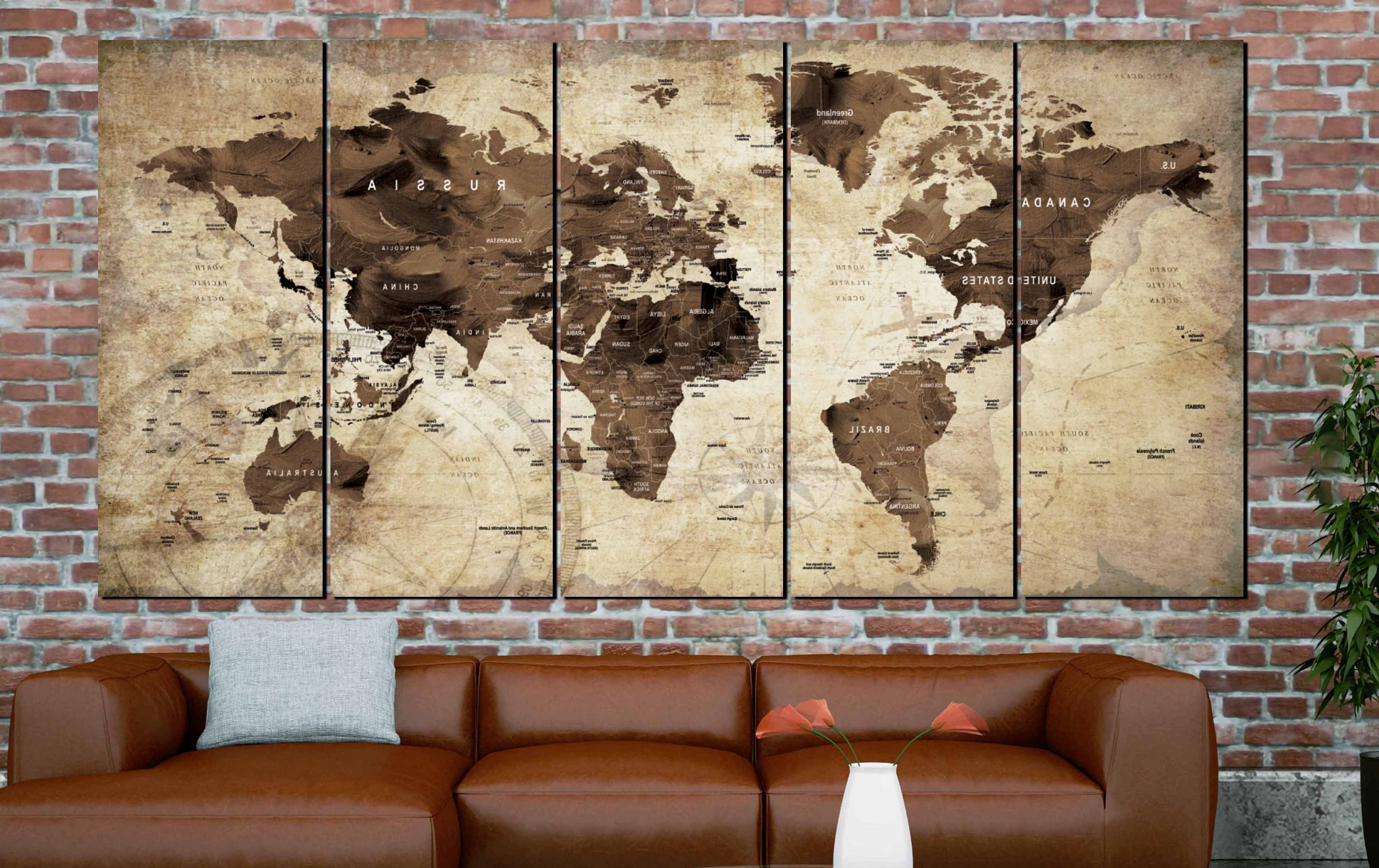World Map,world Map Vintage,vintage Map Art,world Map Wall Art Intended For Most Recent Vintage Map Wall Art (View 15 of 15)