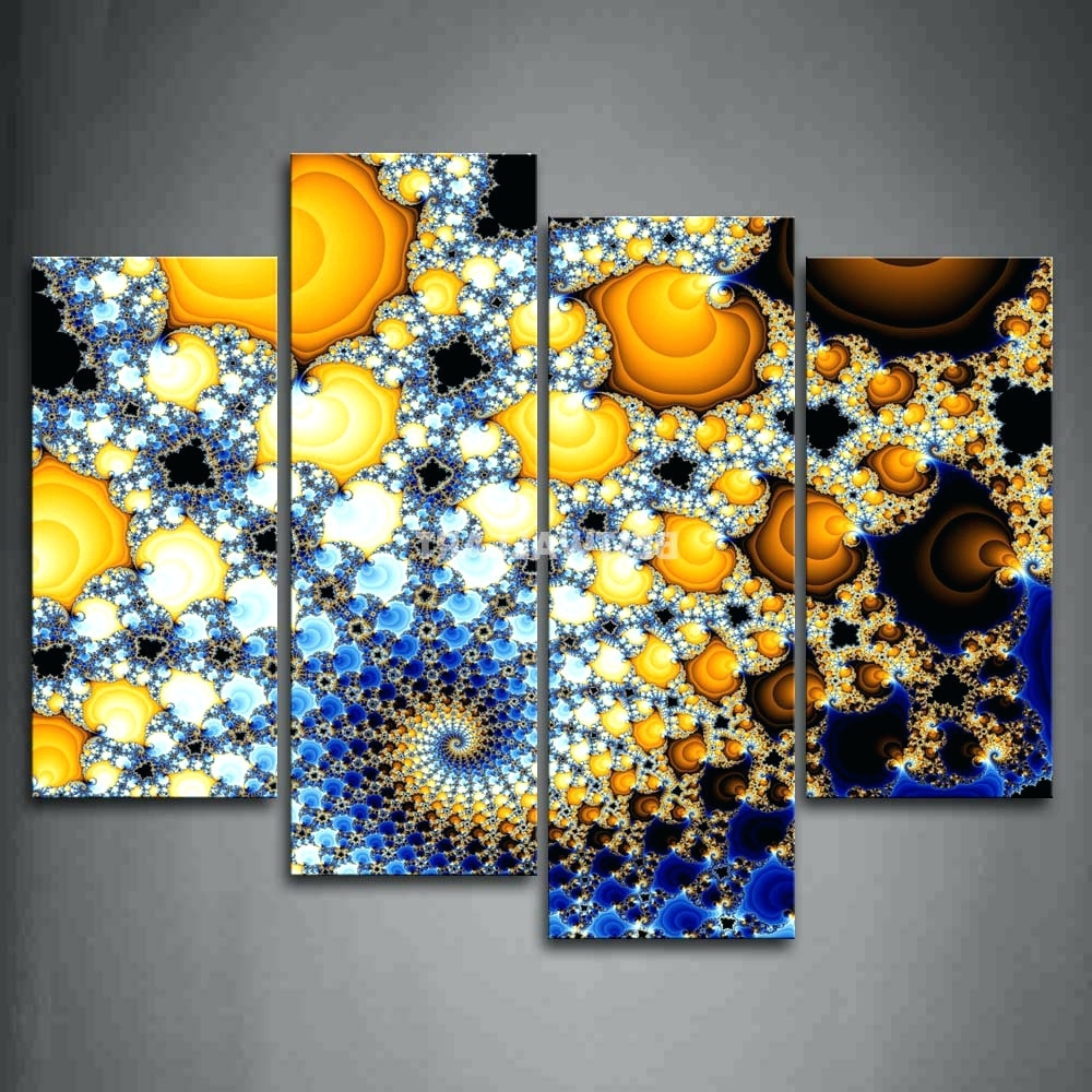 Yellow And Blue Wall Art Within Latest Wall Arts ~ Gray Yellow And Blue Wall Art Fractal Blue Yellow Deep (Gallery 12 of 15)