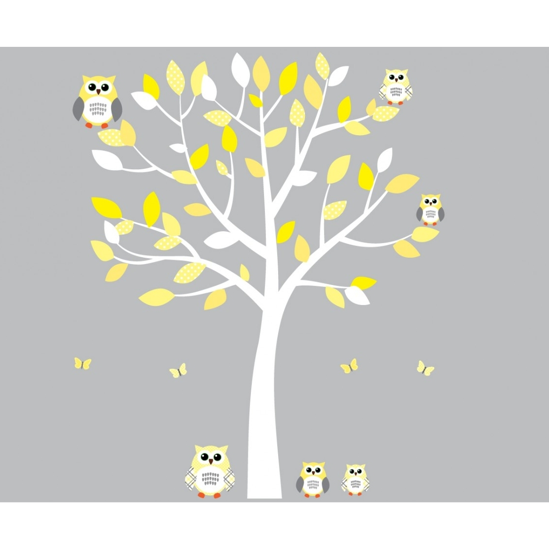 Yellow And Grey Owl Wall Art With White Tree Wall Decal For Girls Within Most Current Yellow And Gray Wall Art (Gallery 15 of 15)