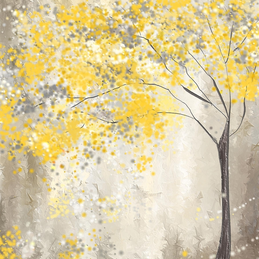 Yellow And Grey Wall Art Regarding Fashionable Yellow And Gray Tree Paintinglourry Legarde (View 4 of 15)