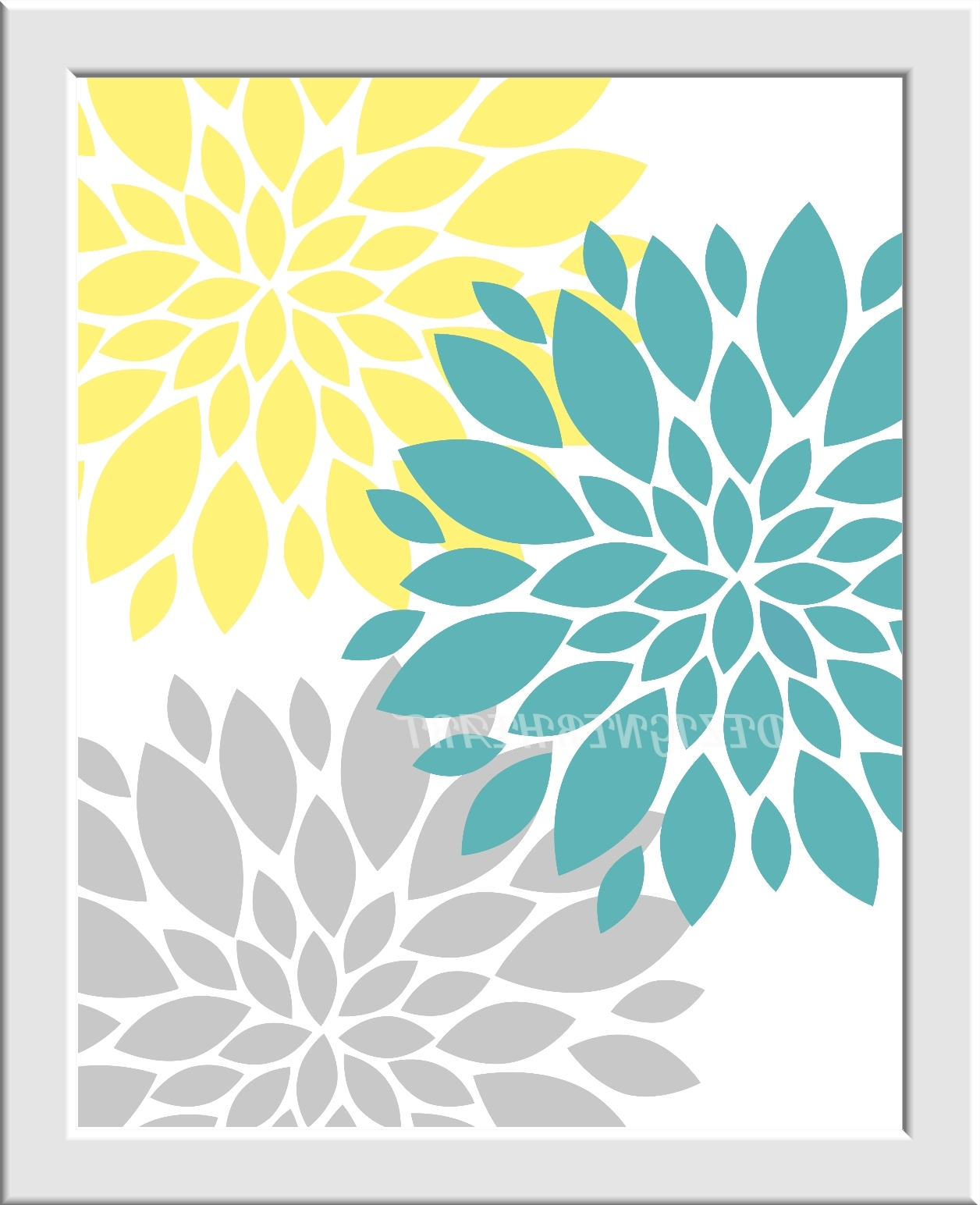 Yellow Gray Baby Nursery Wall Art You Are My Sunshine Flower Burst Inside Most Recent Gray And Yellow Wall Art (View 15 of 15)