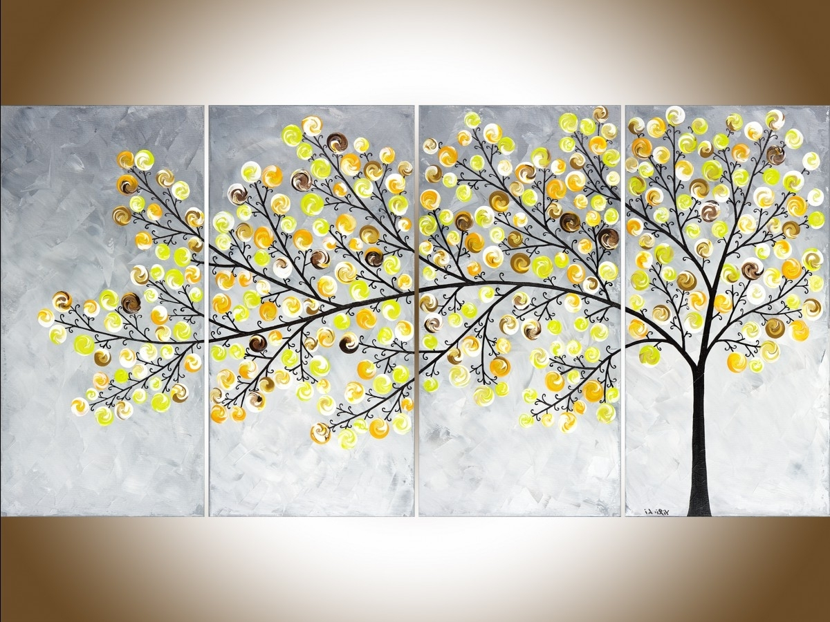 "Yellow Grey Wall Art Intended For Most Up To Date Weeping Willowqiqigallery 48"" X 24"" Original Landscape Art (Gallery 11 of 15)"