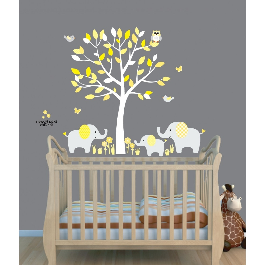 Yellow Grey Wall Art Pertaining To Well Liked Yellow Safari Murals With Elephant Wall Decal For Baby Room (View 15 of 15)
