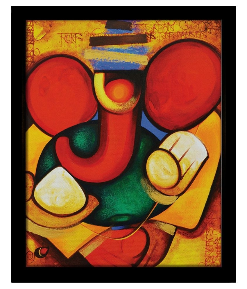 Yudezine Modern Art Ganesha Yellow Painting (View 15 of 15)