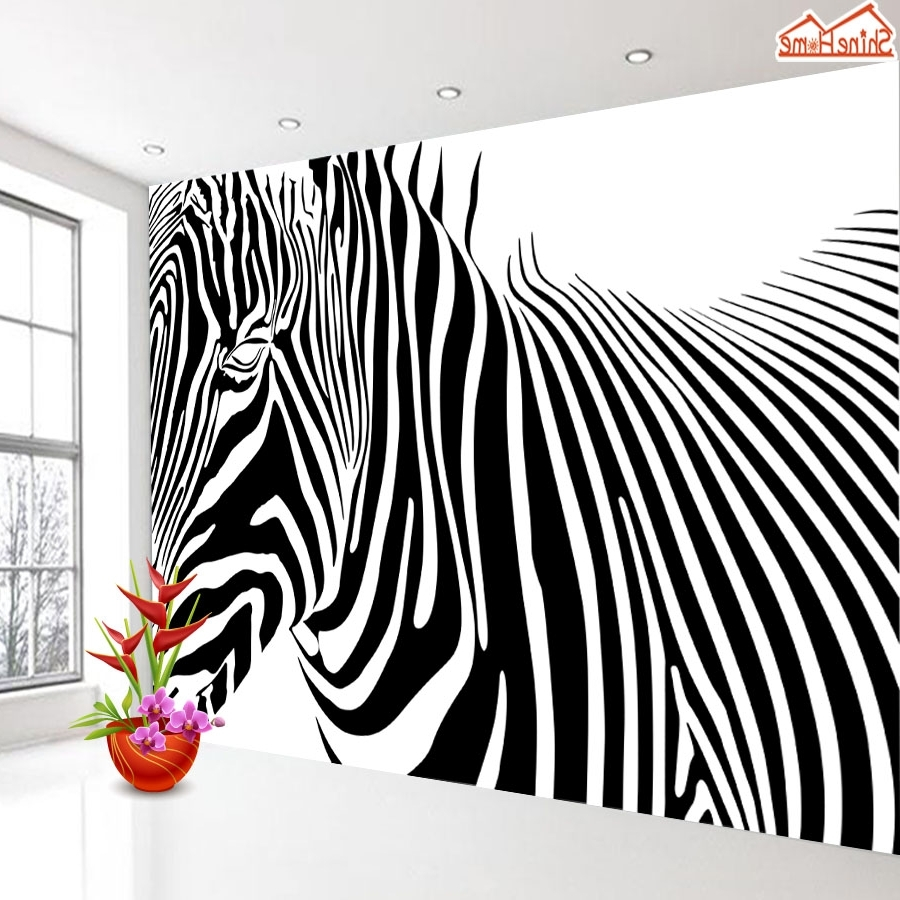 Zebra 3D Wall Art With Regard To Fashionable Shinehome Black And White Zebra Strip Animal Wallpaper For Murals (Gallery 5 of 15)