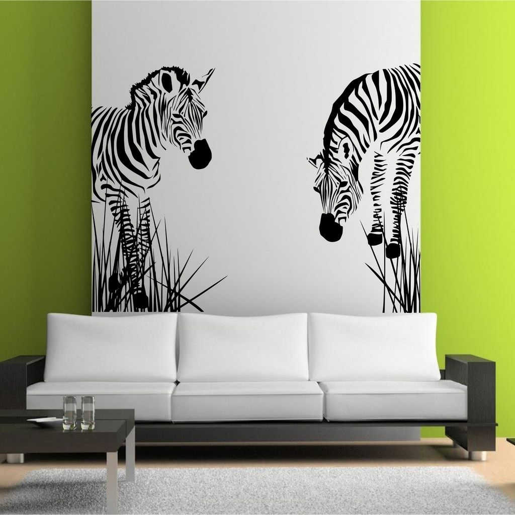 Zebra 3D Wall Art Within Preferred Zebra Vinyl Wall Decal (View 14 of 15)
