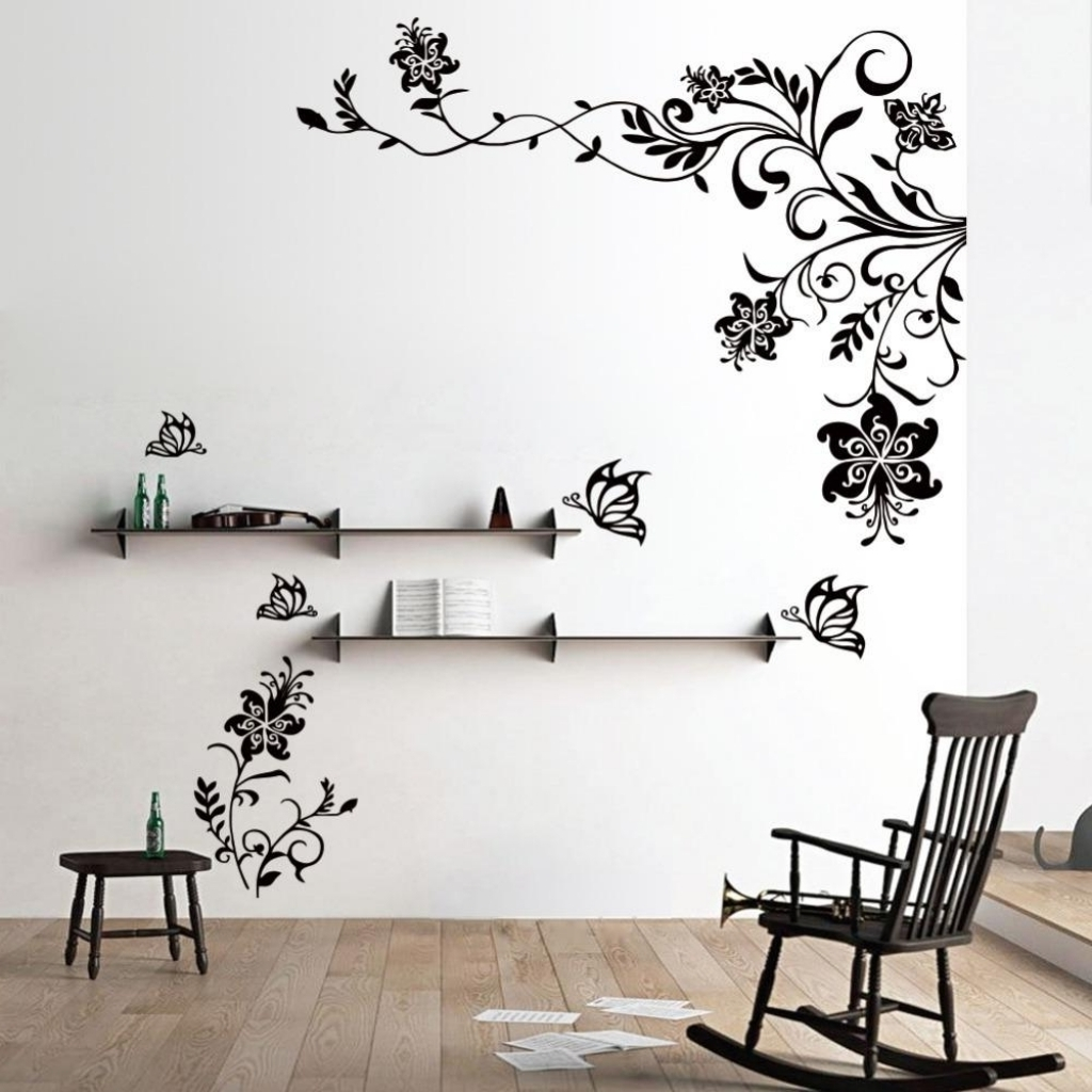 13 Flower Wall Art Stickers Butterfly Flower Vinyl Wall Art Within Throughout Most Recently Released Vinyl Wall Accents (Gallery 6 of 15)
