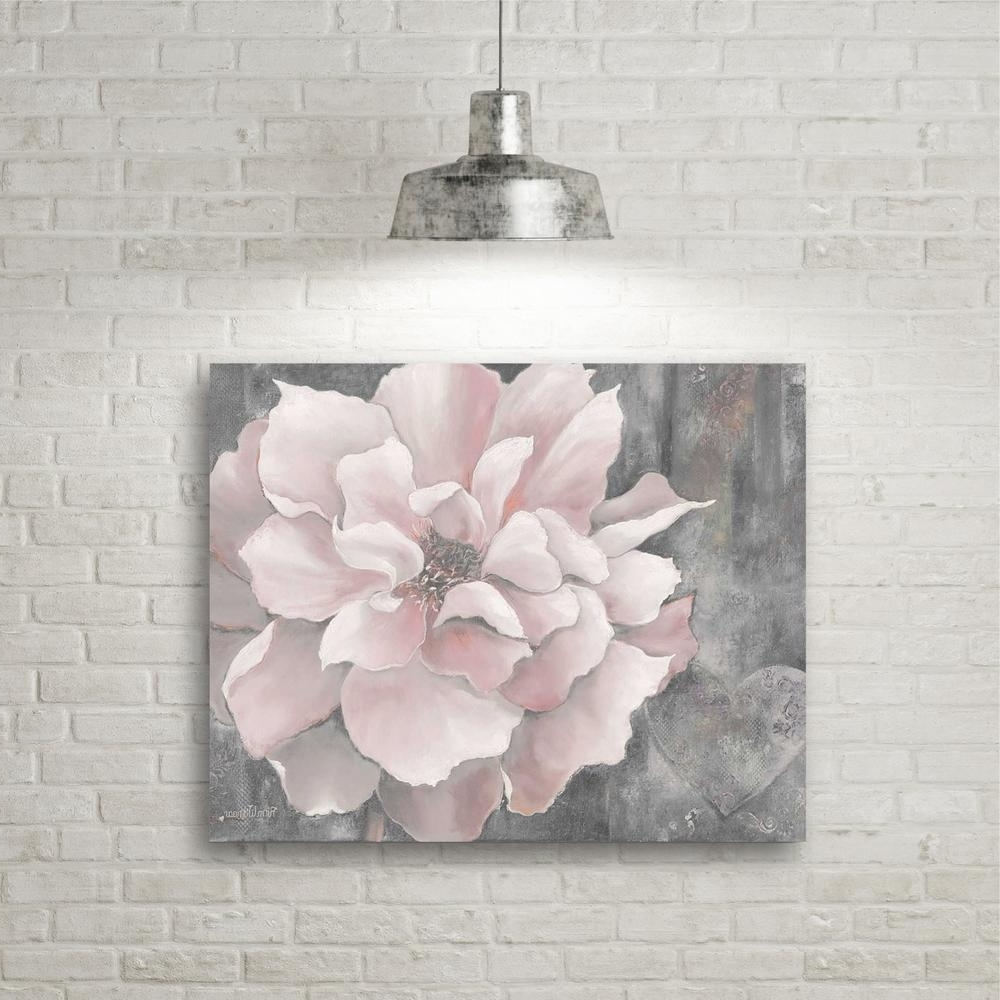 """16 In. X 20 In. """"pink And Gray Magnolia"""" Canvas Wall Art Web Sc329 With Regard To Latest Grey Canvas Wall Art (Gallery 11 of 15)"""