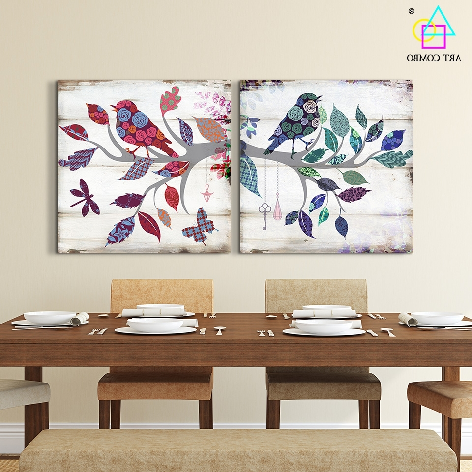 2 Pieces Canvas Painting Bird Standing On The Branch Artwork Home For Most Popular Fabric Bird Wall Art (View 1 of 15)
