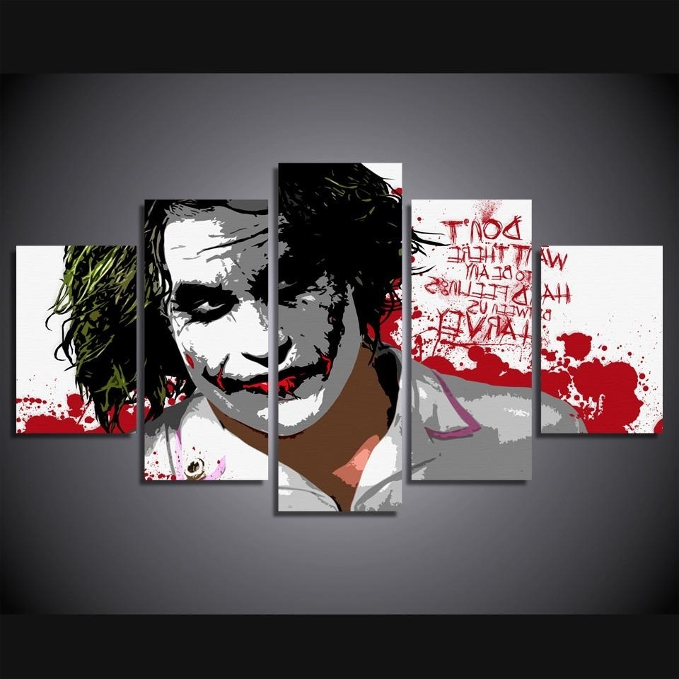 2017 2018 5 Panel Hd Printed The Joker Digital Art Painting On Canvas For Joker Canvas Wall Art (Gallery 9 of 15)