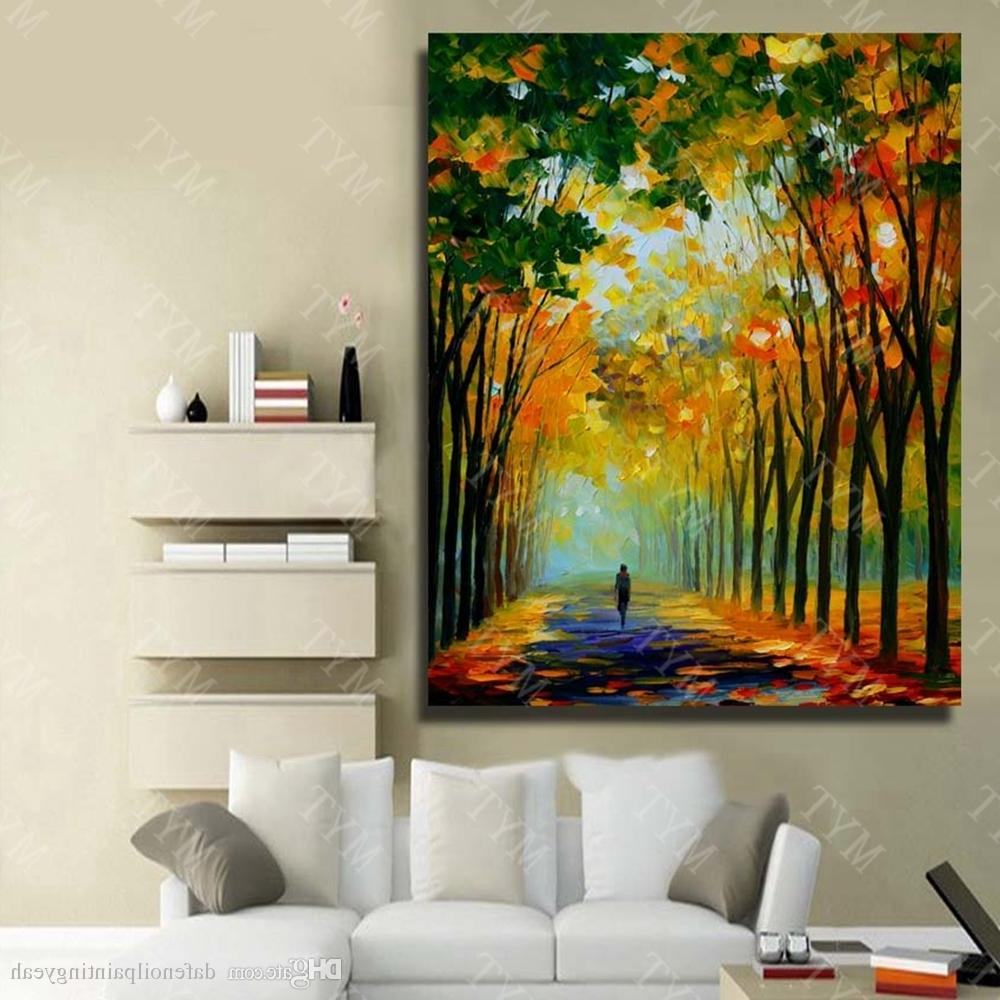 2017 2018 Abstract Knife Tree Road Landscape Oil Painting Home Intended For Bmw Canvas Wall Art (View 1 of 15)