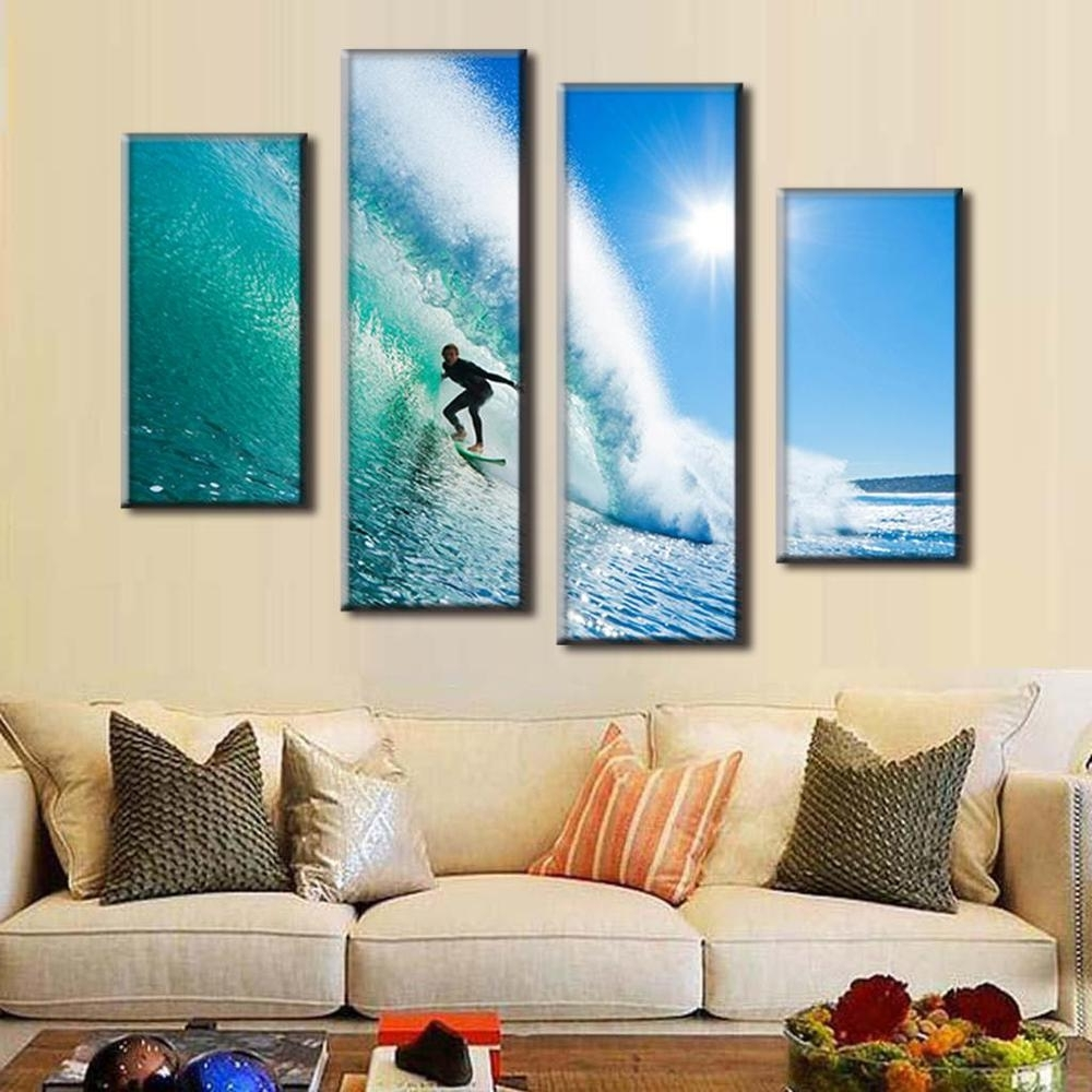 2017 4 Panel Modern Seascape Canvas Prints Surfing In Hawaii Wall Regarding Most Recent Hawaii Canvas Wall Art (View 1 of 15)
