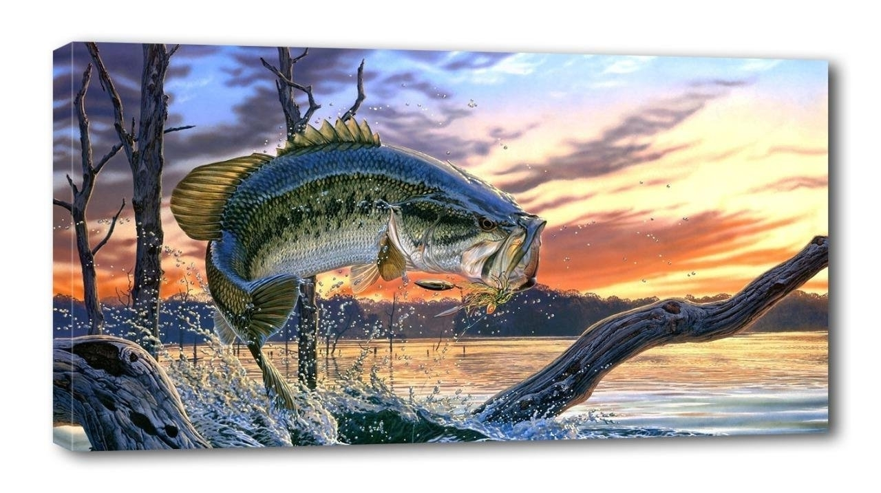 2017 Bass Framed Art Prints Within Amazon: Large Mouth Bass Fish Canvas Print Wall Decor Art (View 1 of 15)