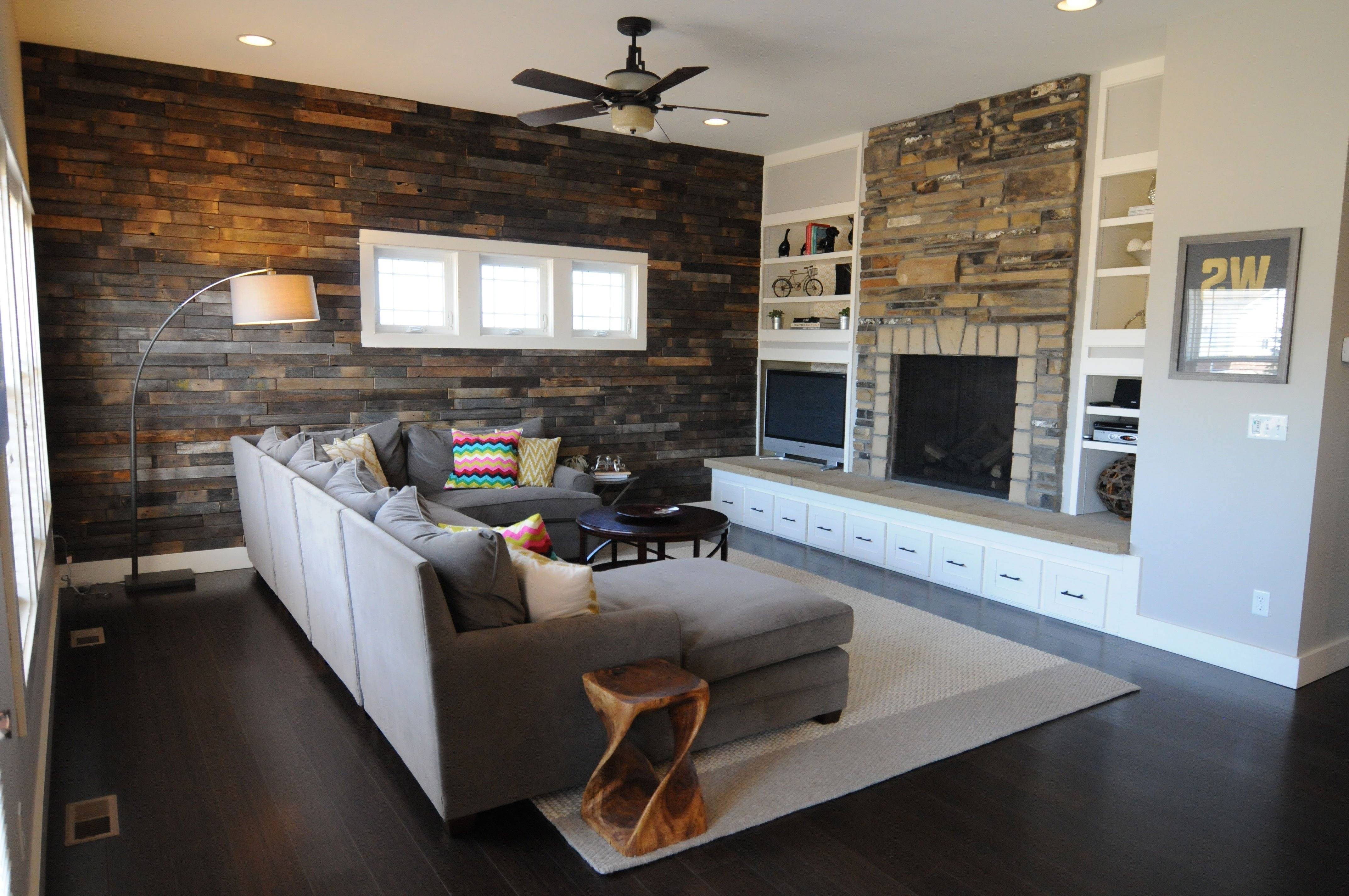 2017 Brick Wall Accents Throughout Accent Wall With Brown Furniture Showing Dark Brown Brick Wall And (View 10 of 15)