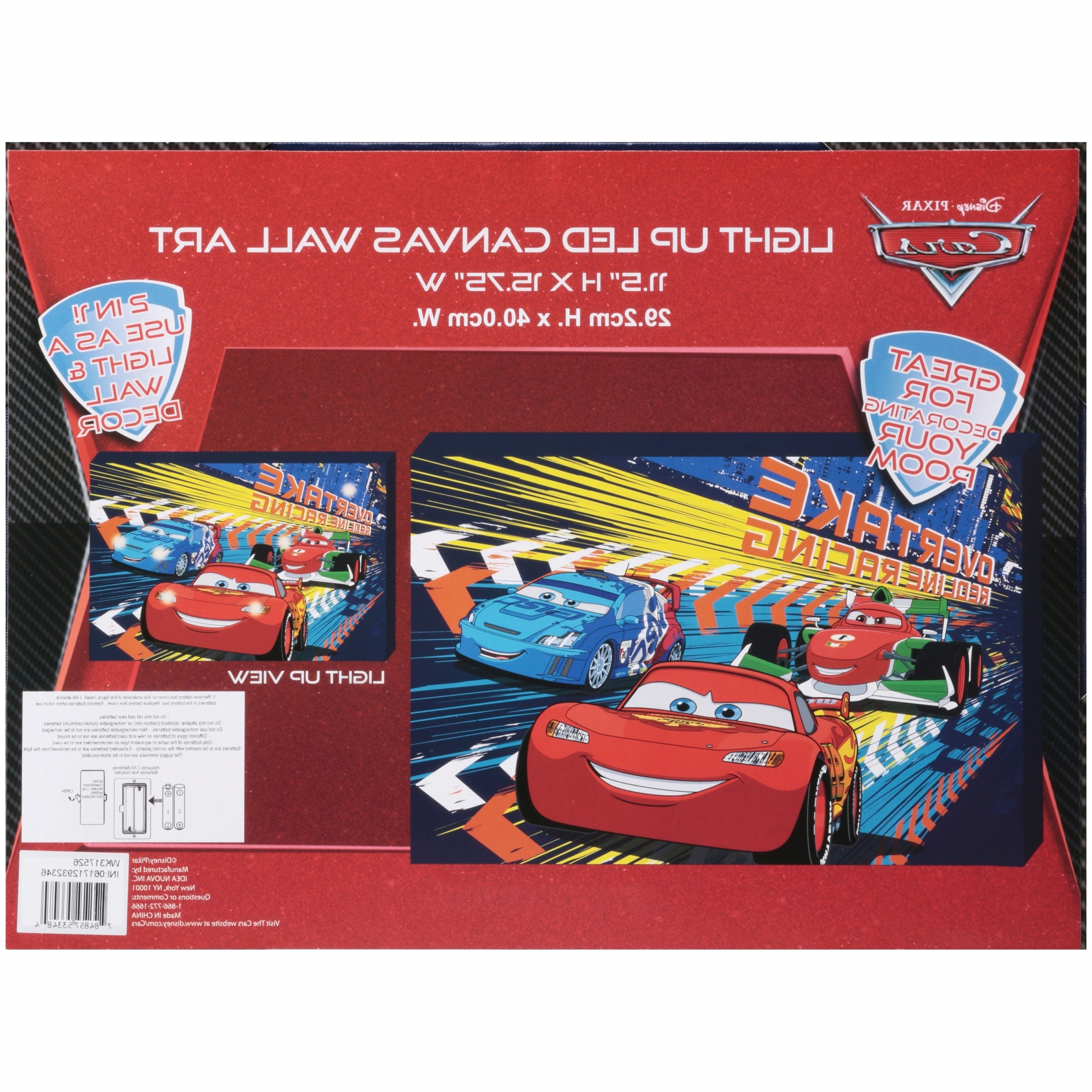 2017 Disney Cars Light Up Canvas Wall Art With Bonus Led Lights For Cars Theme Canvas Wall Art (View 2 of 15)