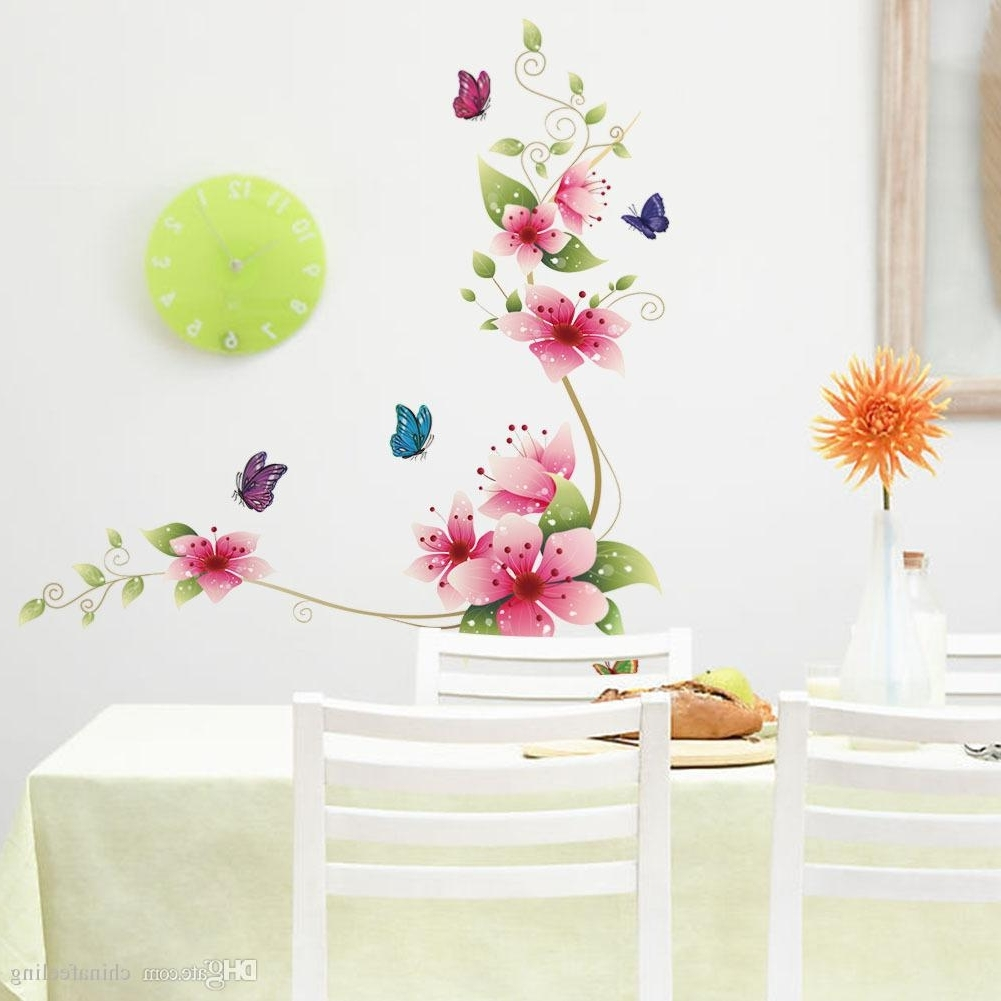 2017 Flowers Wall Accents Regarding Flower Butterfly Wall Stickers Living Room Flower Wall Decal (Gallery 6 of 15)