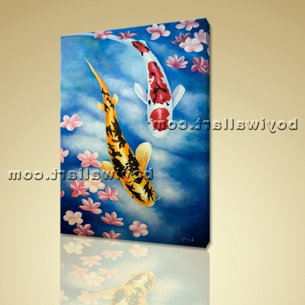 2017 Giclee Prints On Canvas Feng Shui Zen Wall Art Koi Fish Gallery With Koi Canvas Wall Art (View 1 of 15)