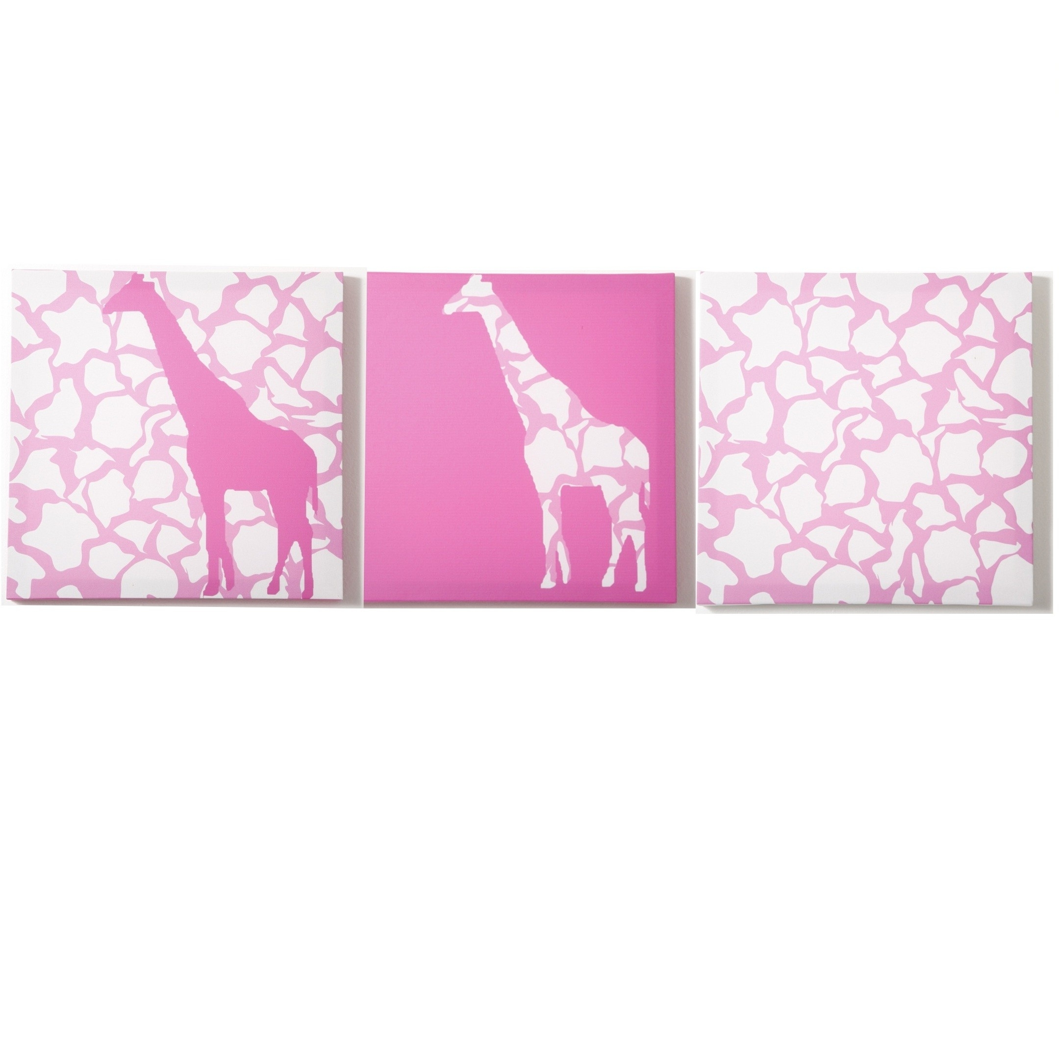 2017 Giraffe Canvas Wall Art With Modern Littles – Rose Giraffe – Canvas Wall Art – 3 Pc. Set (Gallery 5 of 15)