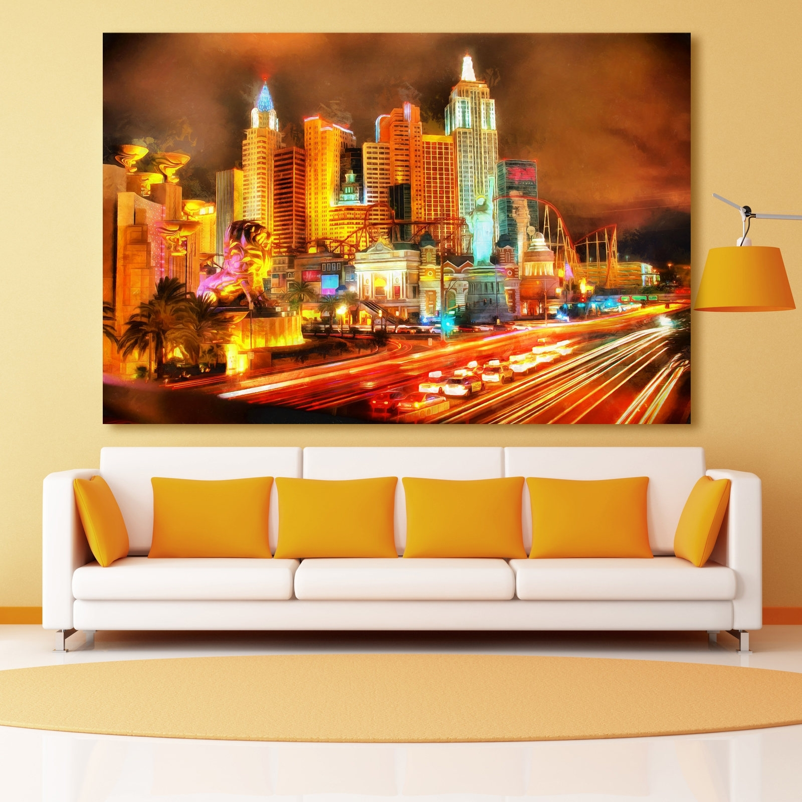 2017 Las Vegas Night Skyline Canvas, Large Art Wall Oil Painting, Las For Las Vegas Canvas Wall Art (View 1 of 15)