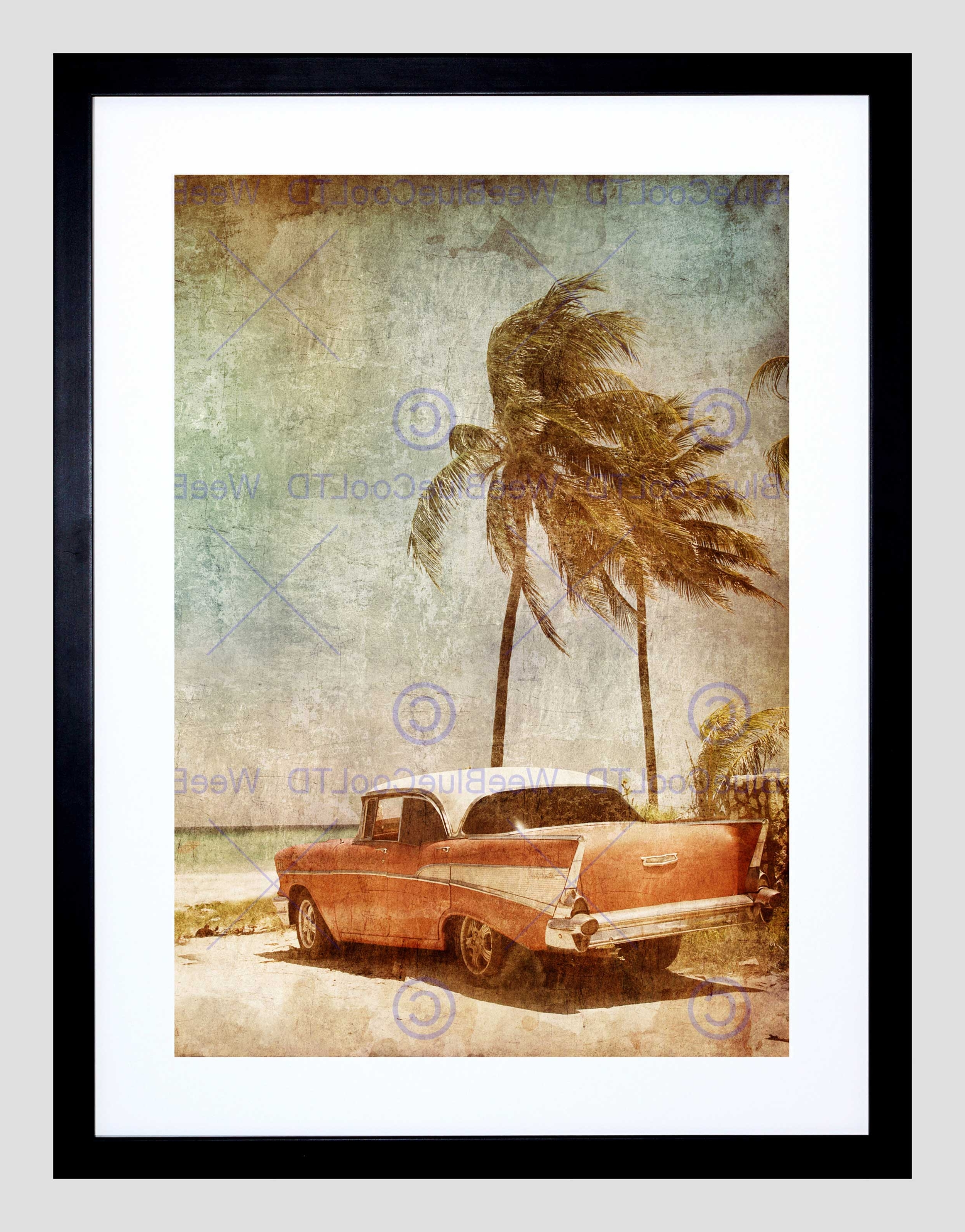 2017 Painting Drawing Vintage Car Tropical Palm Beach Framed Art Print With Framed Beach Art Prints (View 1 of 15)