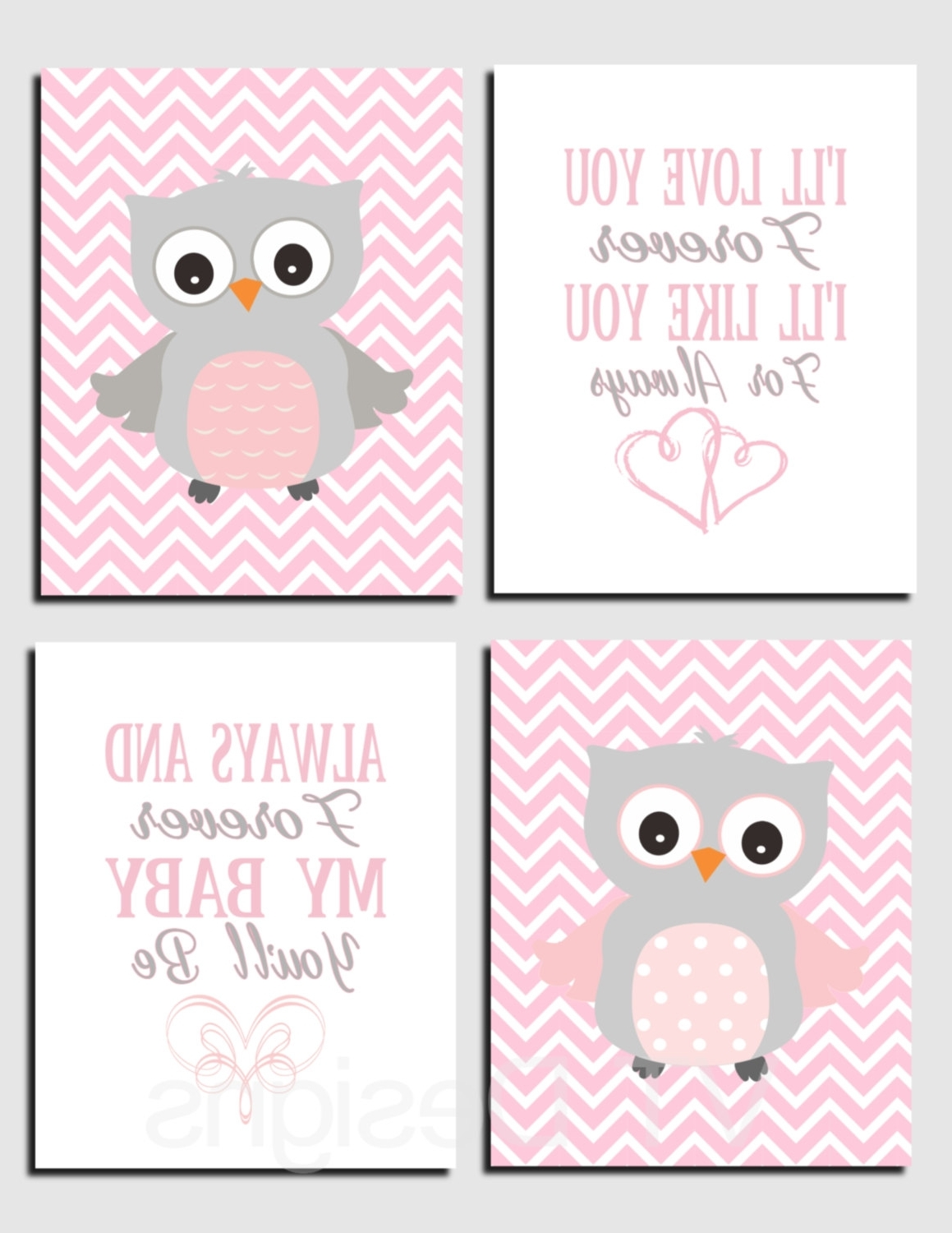 2017 Pink And Gray Nursery Art, Owl Wall Art, Baby Girl Nursery Decor For Baby Room Canvas Wall Art (View 14 of 15)