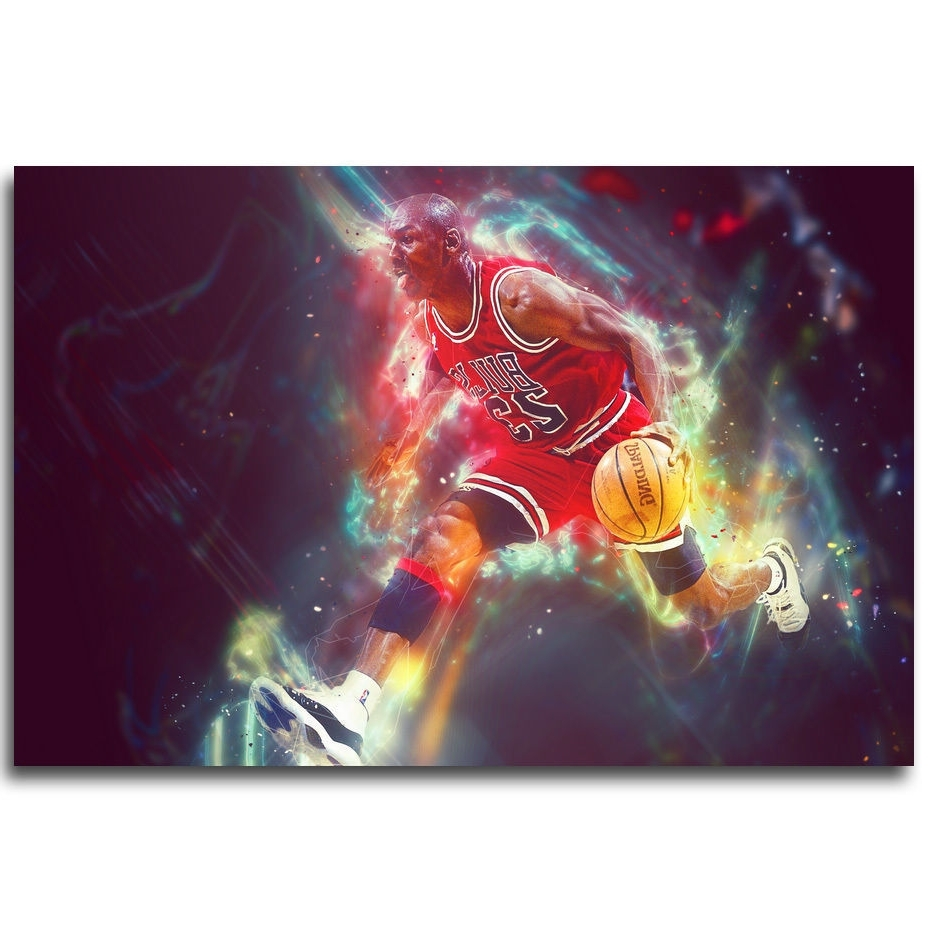 2017 Silk Fabric Wall Art Inside Michael Jordan Basketball Mvp Fabric Wall – Art Silk Poster Deco (View 1 of 15)