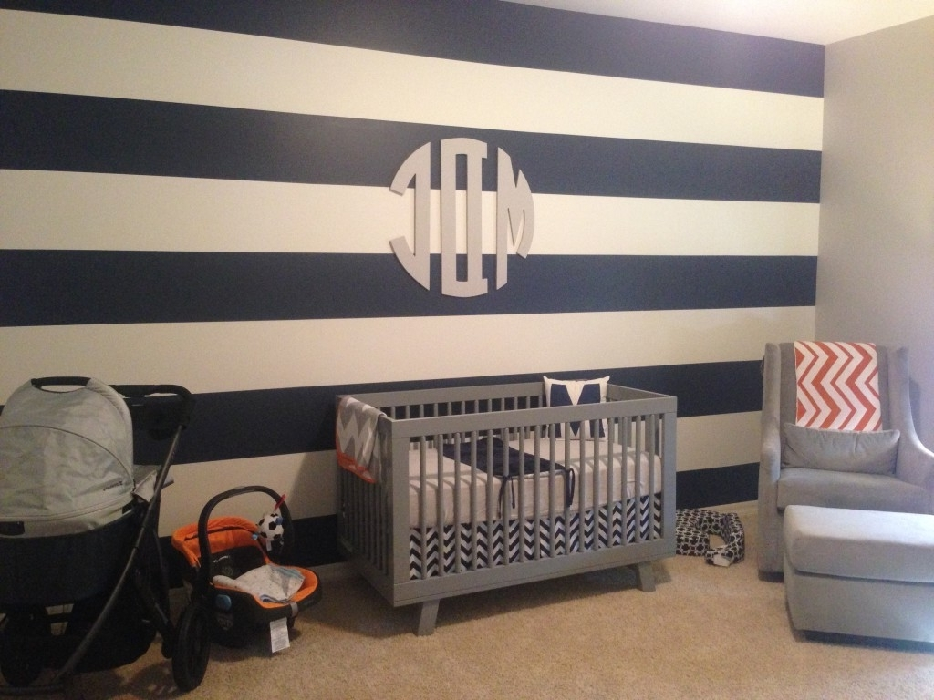 2017 Stripe Wall Accents Intended For Maverick Dakota's Modern Nursery – Project Nursery (View 1 of 15)